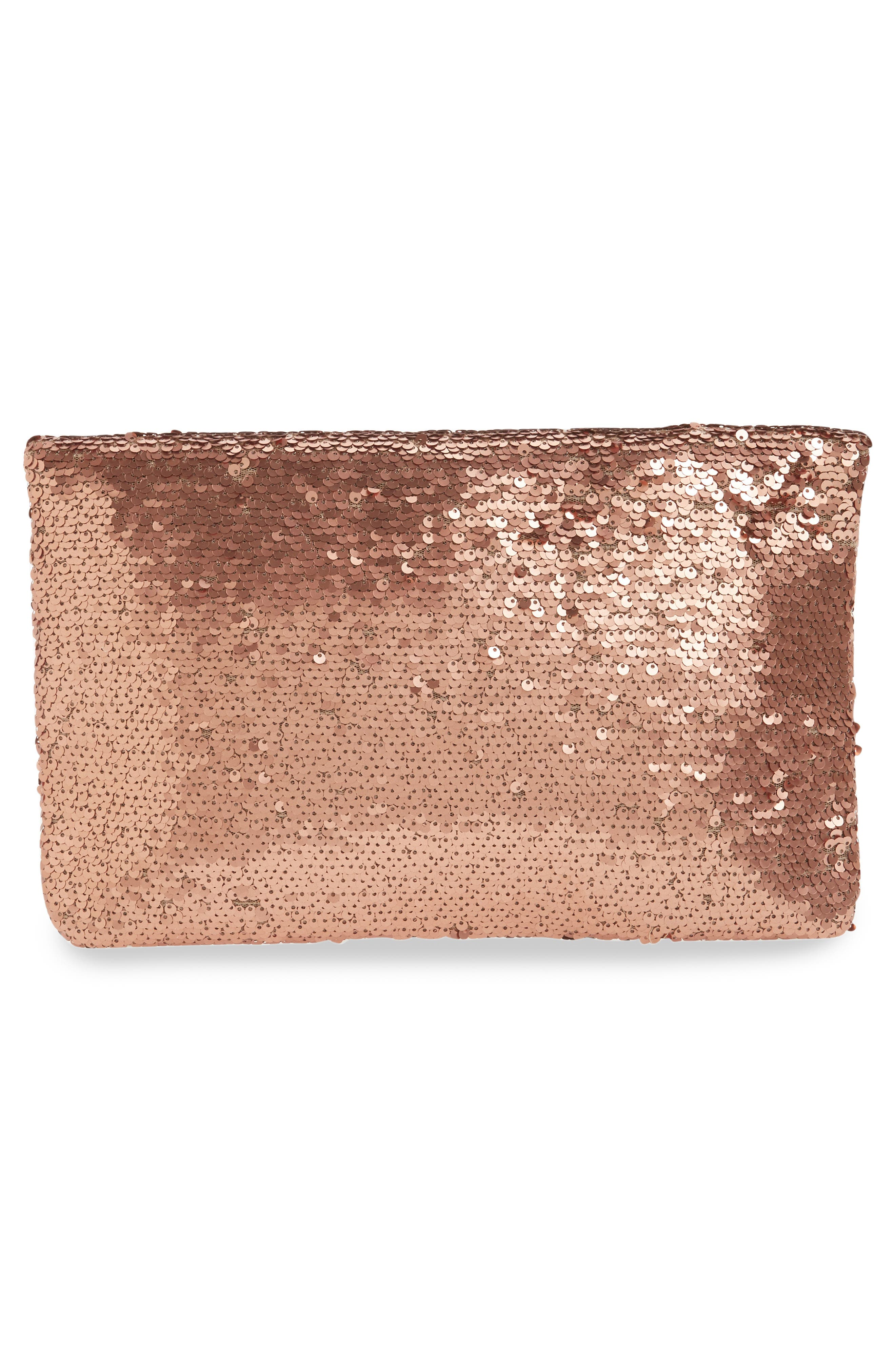 Sequin Foldover Clutch,                             Alternate thumbnail 3, color,                             200