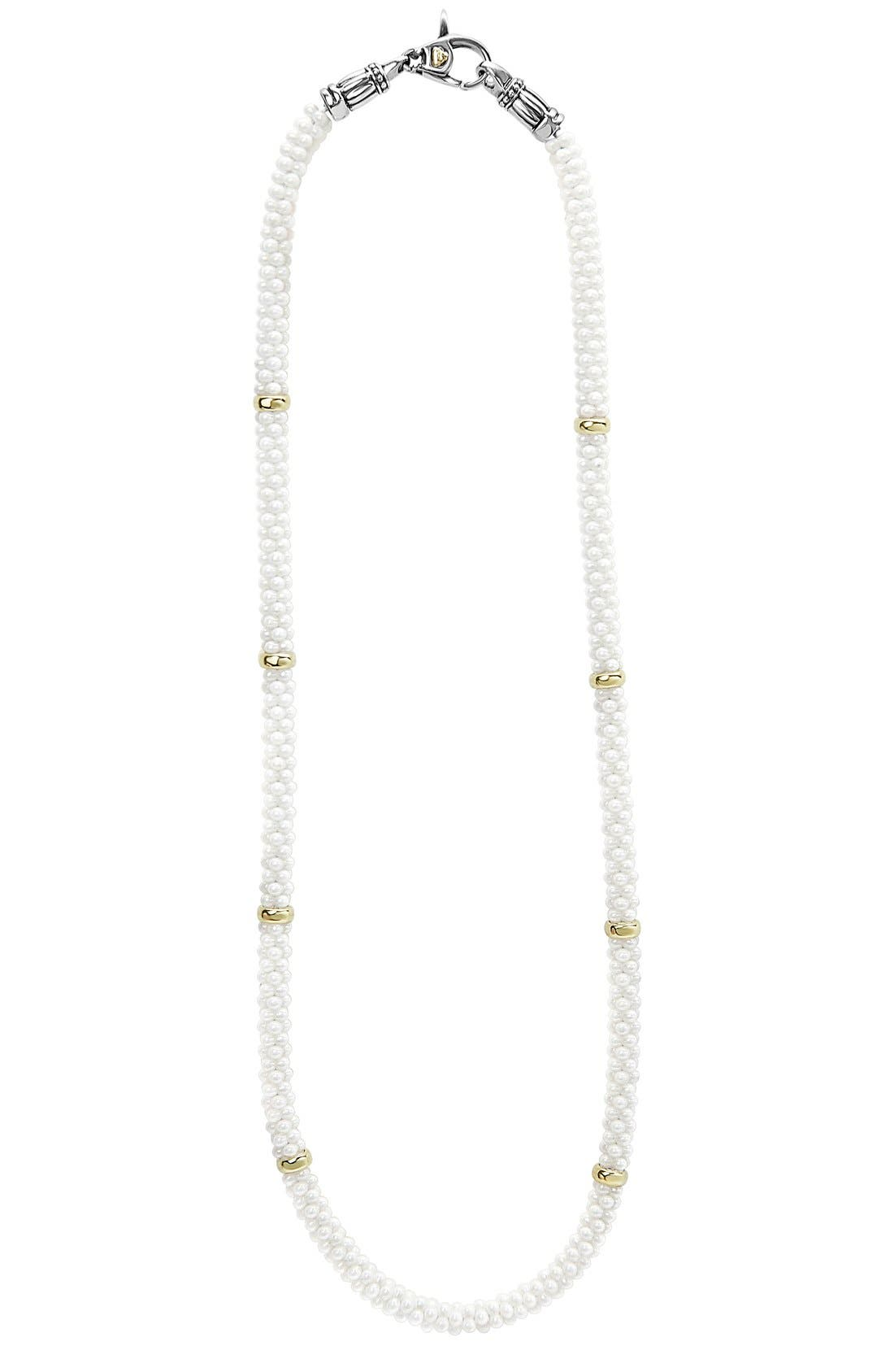 'White Caviar' 5mm Beaded Station Necklace,                             Main thumbnail 1, color,                             WHITE CAVIAR