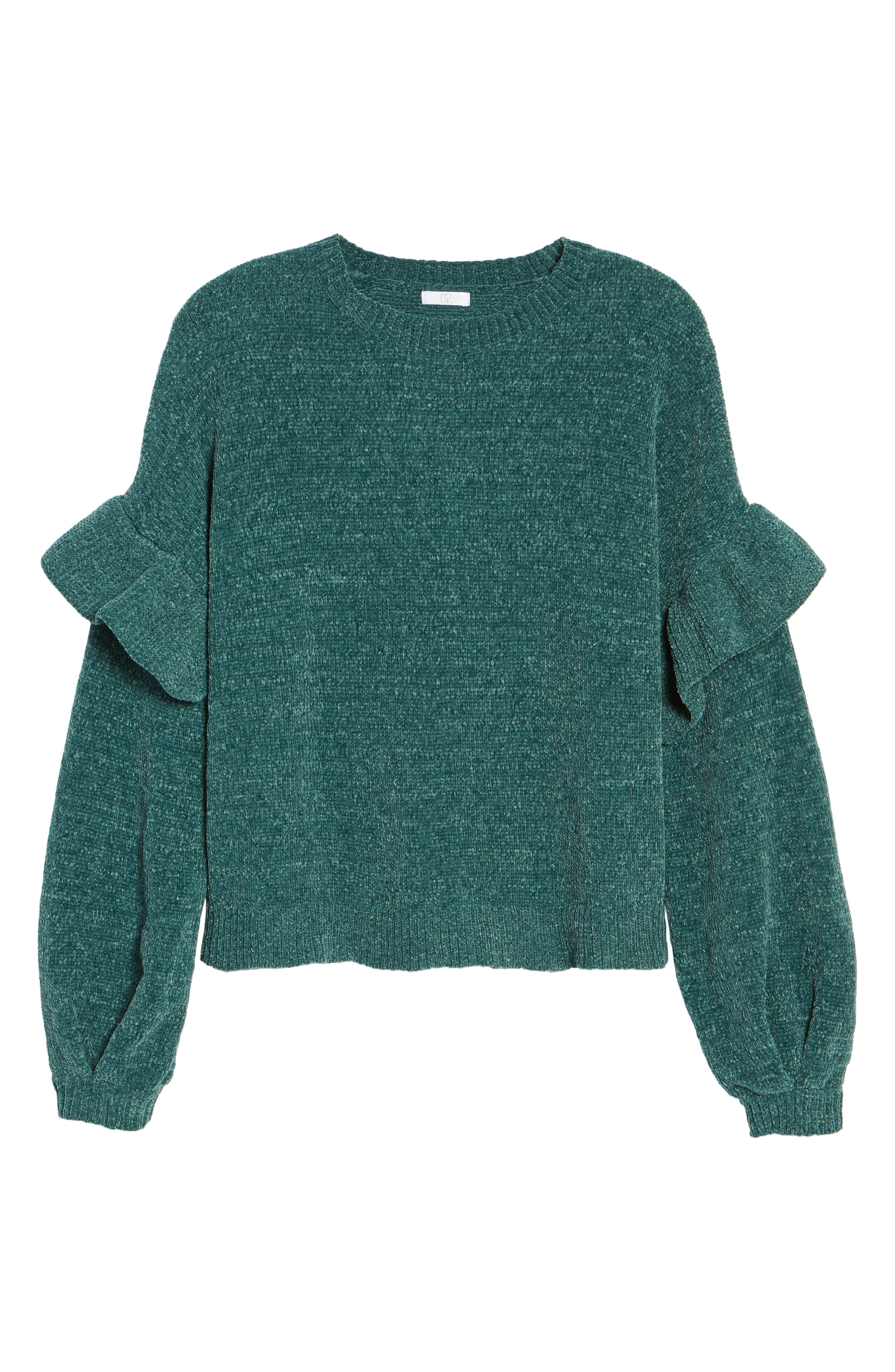Ruffle Chenille Sweater,                             Alternate thumbnail 11, color,