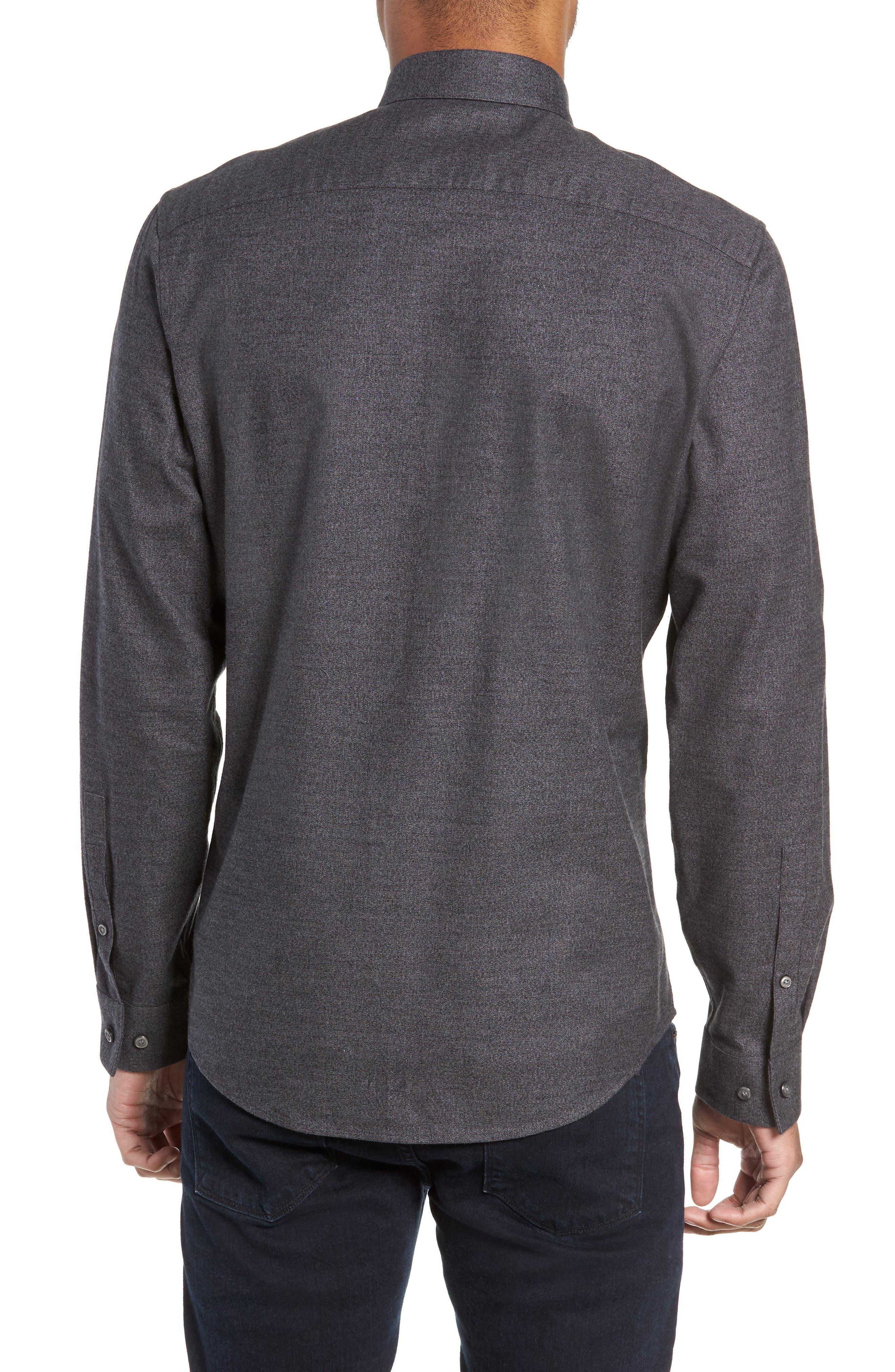 Slim Fit Mini Collar Mélange Sport Shirt,                             Alternate thumbnail 3, color,                             GREY TORNADO JASPE
