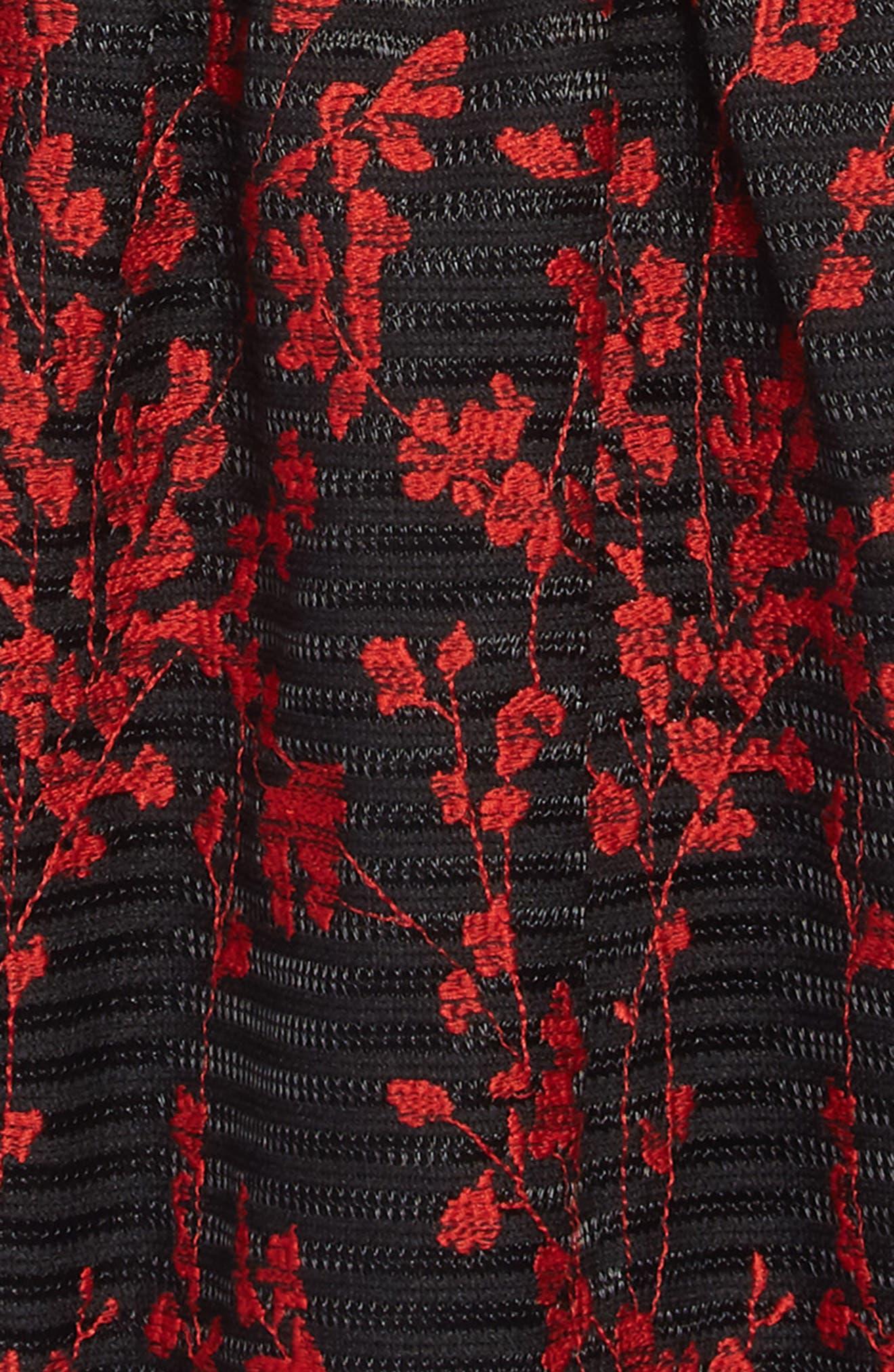 Mercer Flower Embroidered Dress,                             Alternate thumbnail 3, color,                             BLACK