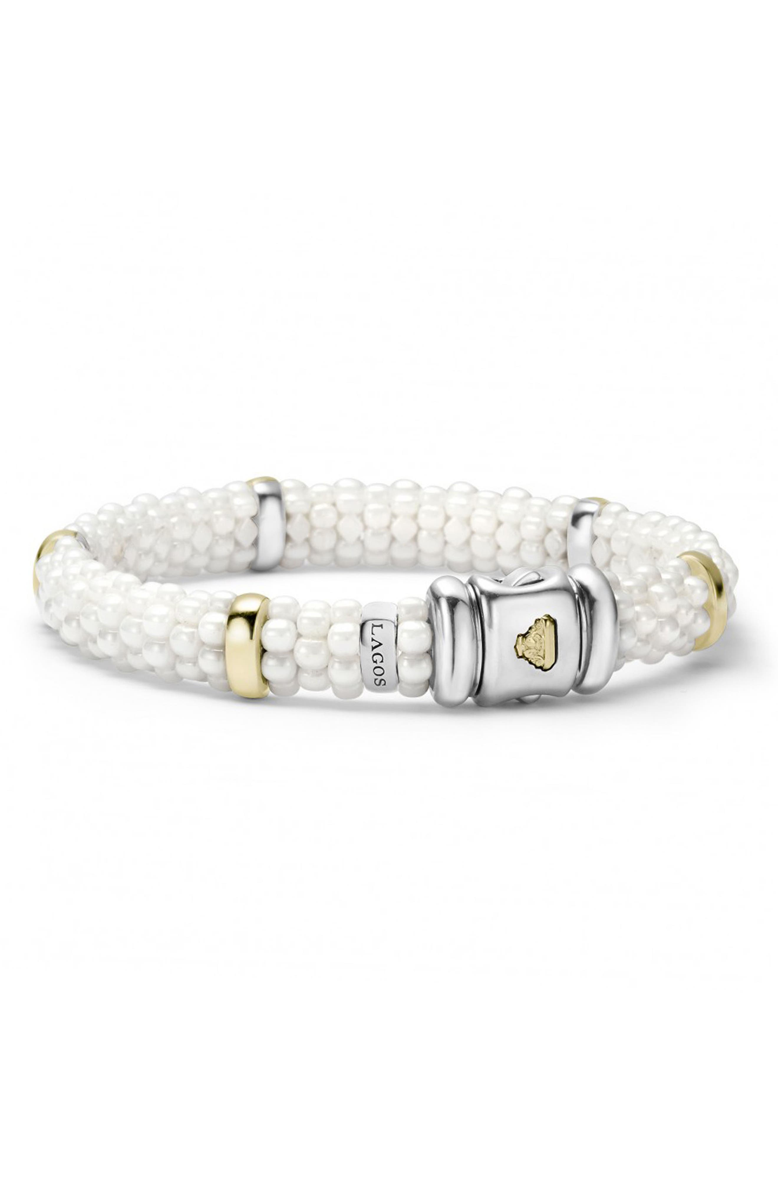 'White Caviar' Station Bracelet,                             Alternate thumbnail 3, color,                             WHITE CAVIAR