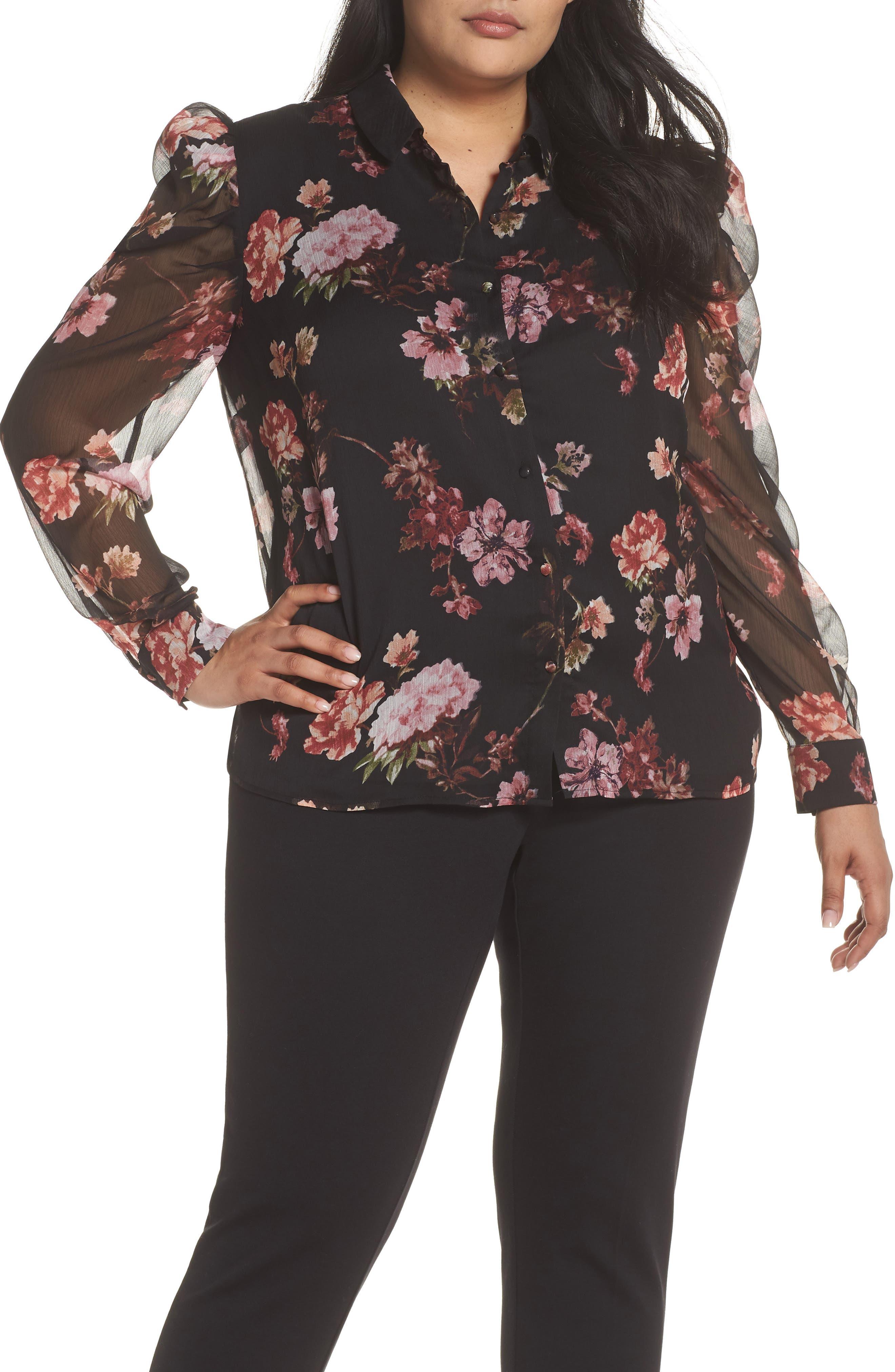 1930s Style Blouses, Shirts, Tops | Vintage Blouses Plus Size Womens Vince Camuto Mutton Sleeve Garden Fleur Blouse $74.40 AT vintagedancer.com