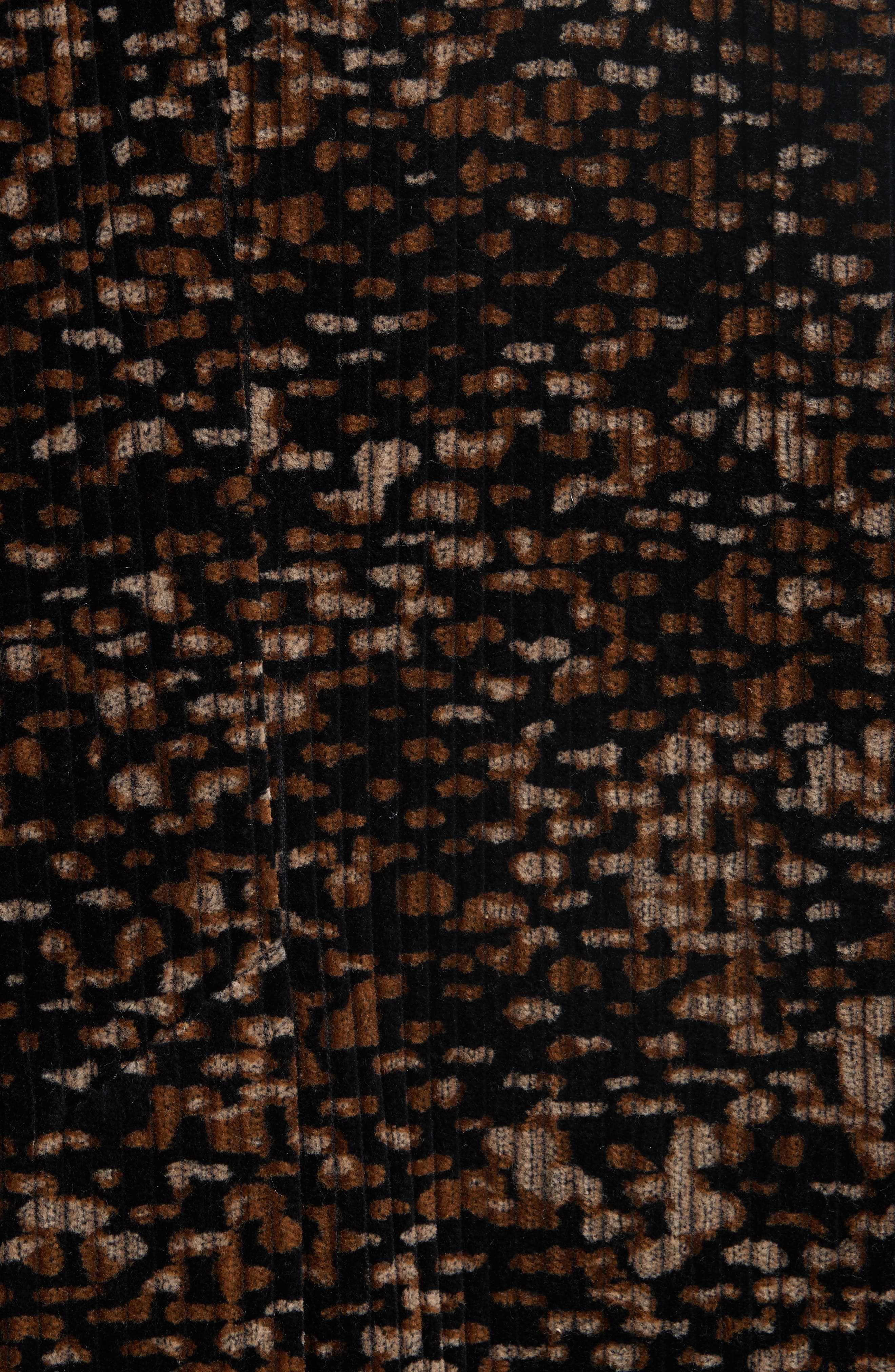 Faux Fur Trim Corduroy Coat,                             Alternate thumbnail 6, color,                             001