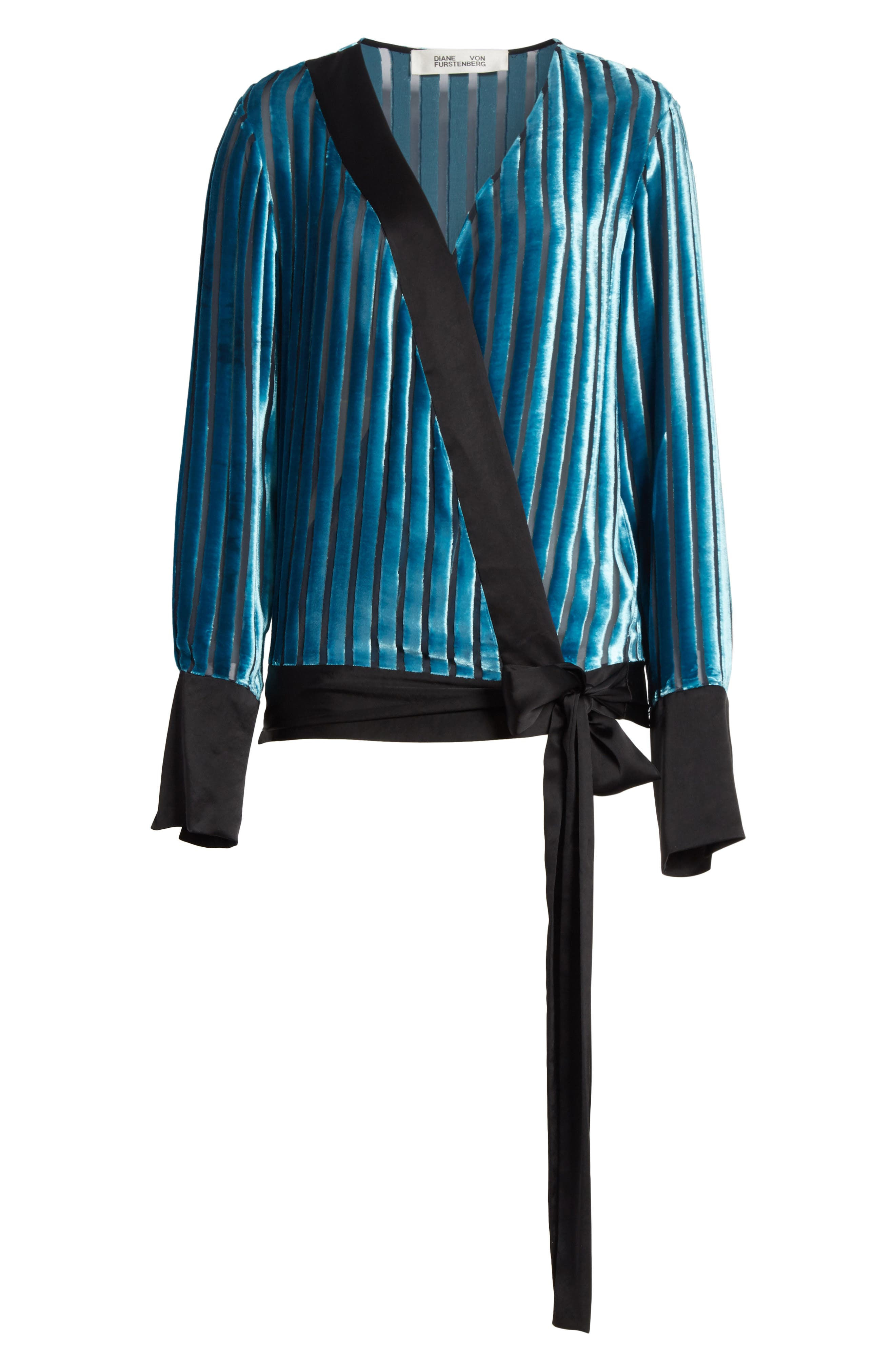 Diane von Furstenberg Velvet Stripe Blouse,                             Alternate thumbnail 6, color,                             401