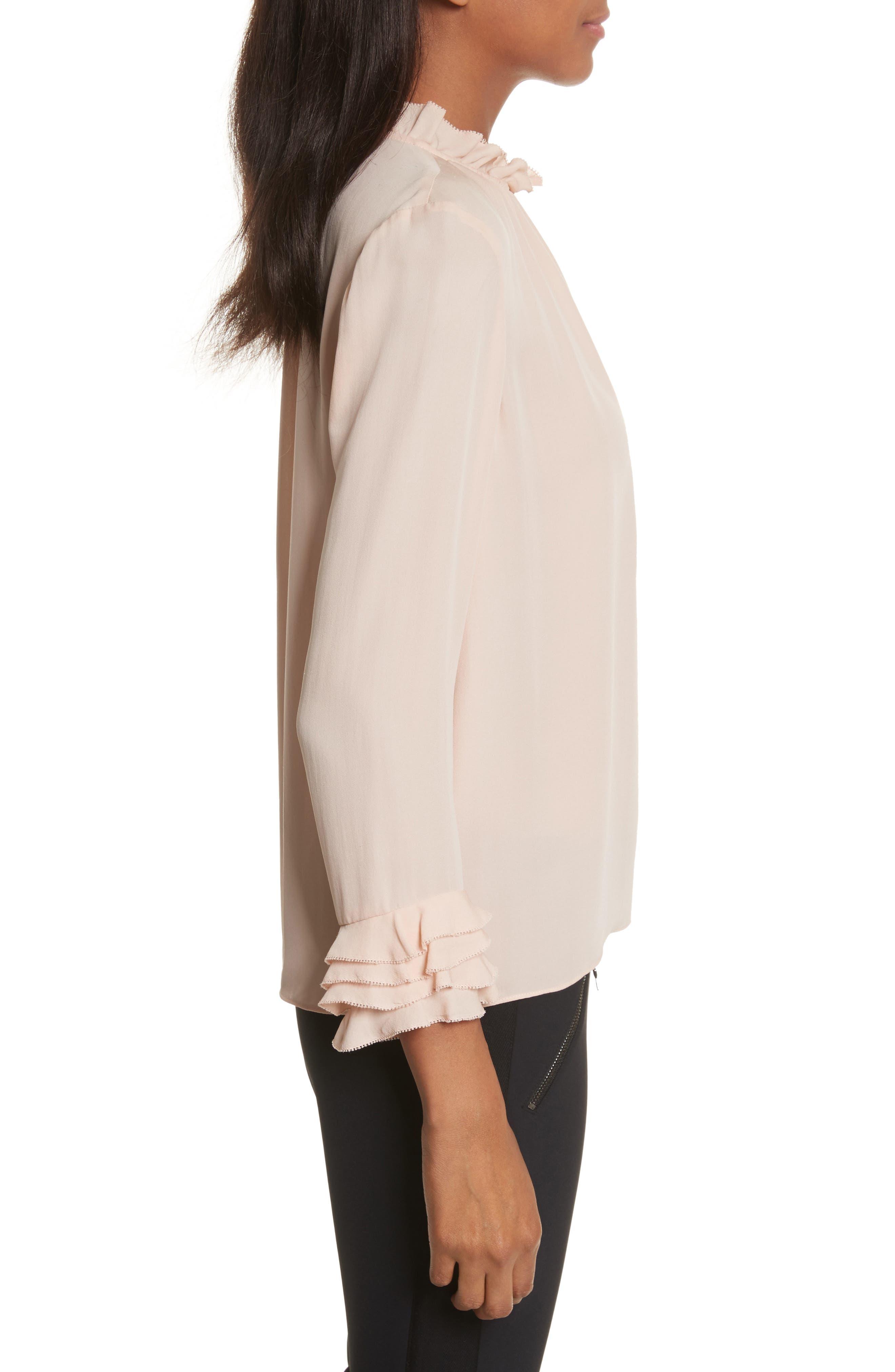 Long Sleeve Ruffle Silk Blouse,                             Alternate thumbnail 3, color,                             696