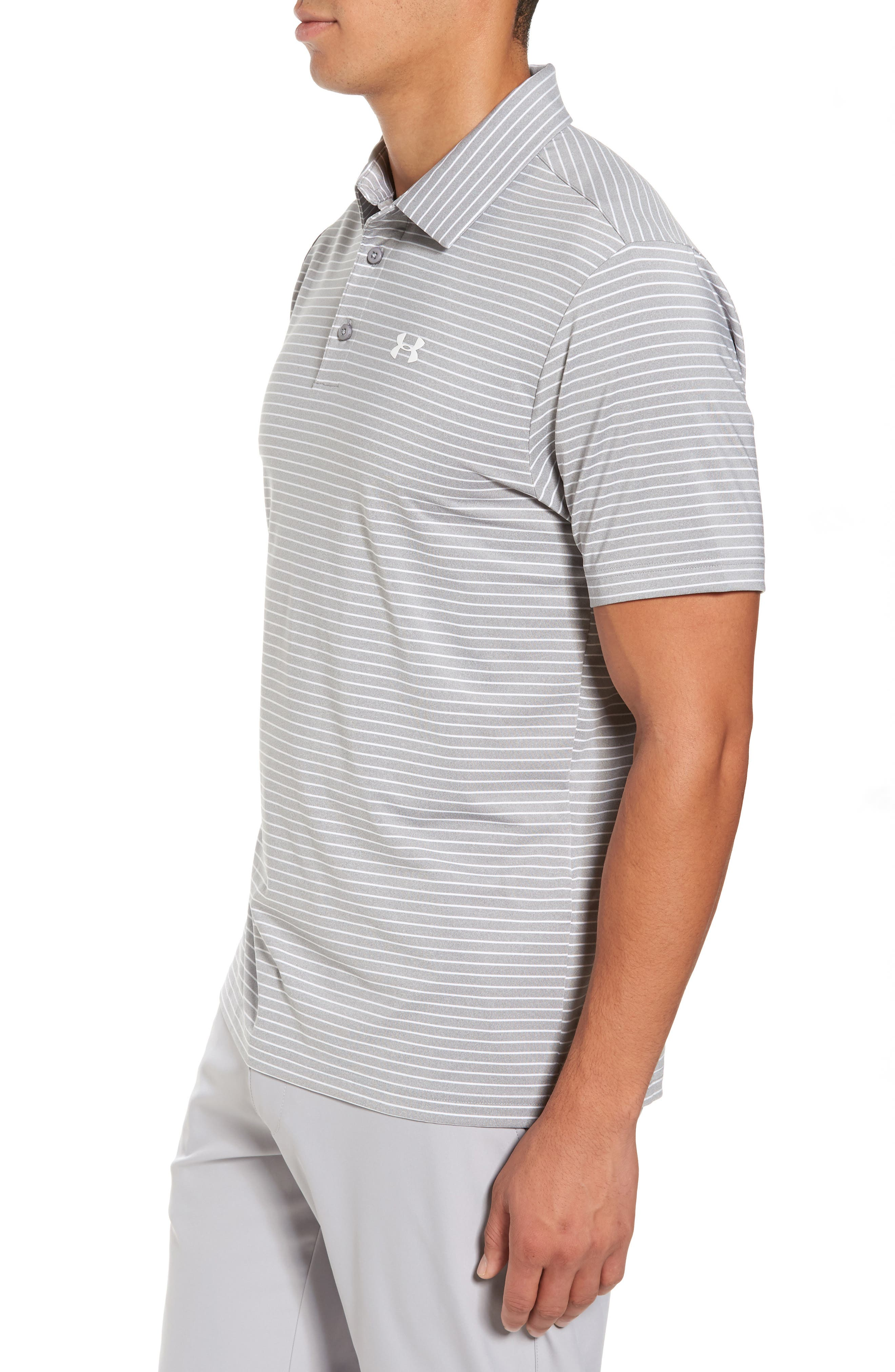 'Playoff' Loose Fit Short Sleeve Polo,                             Alternate thumbnail 3, color,                             TRUE GREY HEATHER/ WHT STRIPE