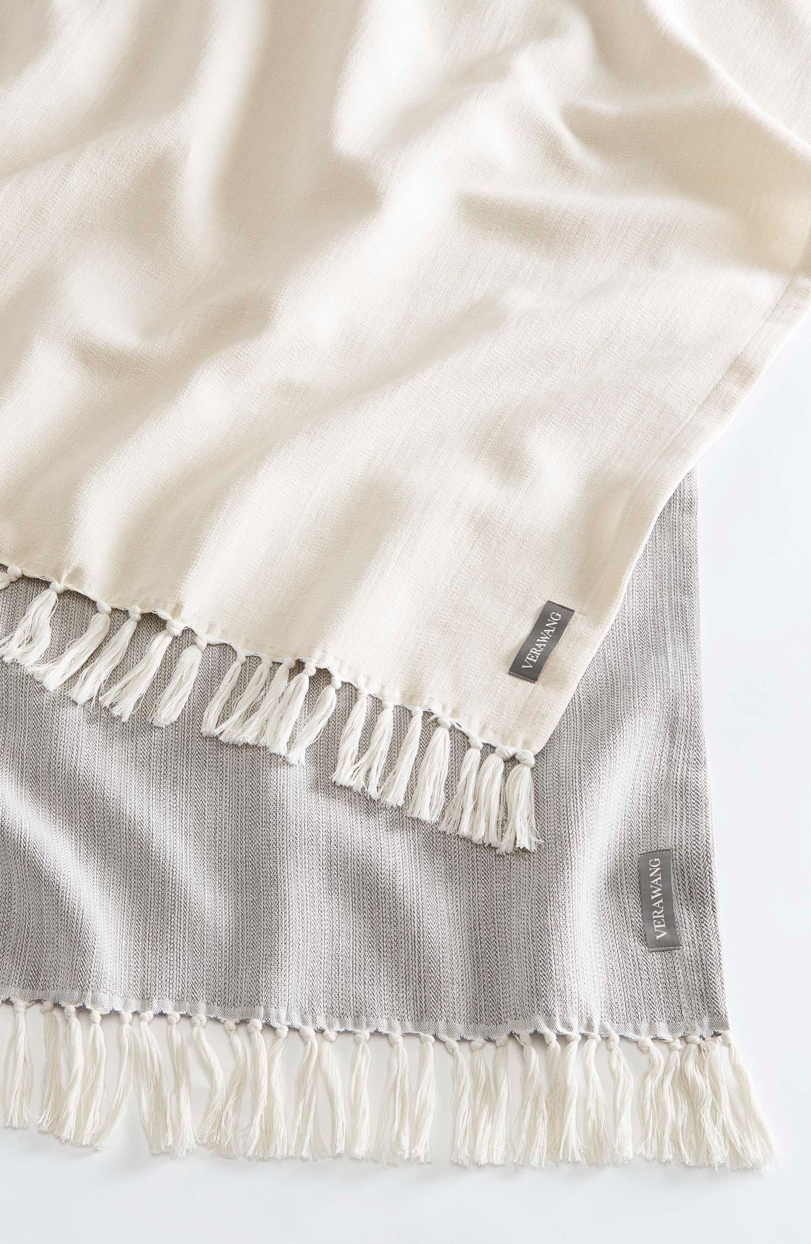 Fringe Cotton Twill Throw,                             Alternate thumbnail 3, color,                             CHARCOAL