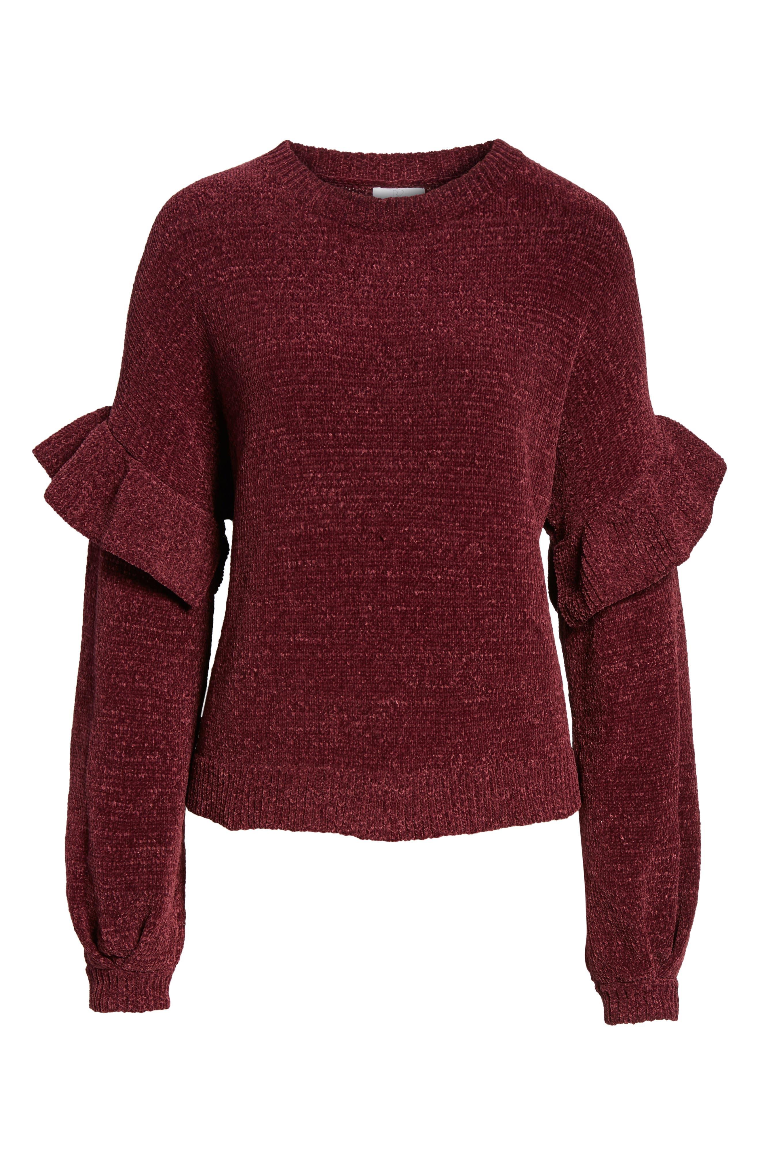 Ruffle Chenille Sweater,                             Alternate thumbnail 12, color,