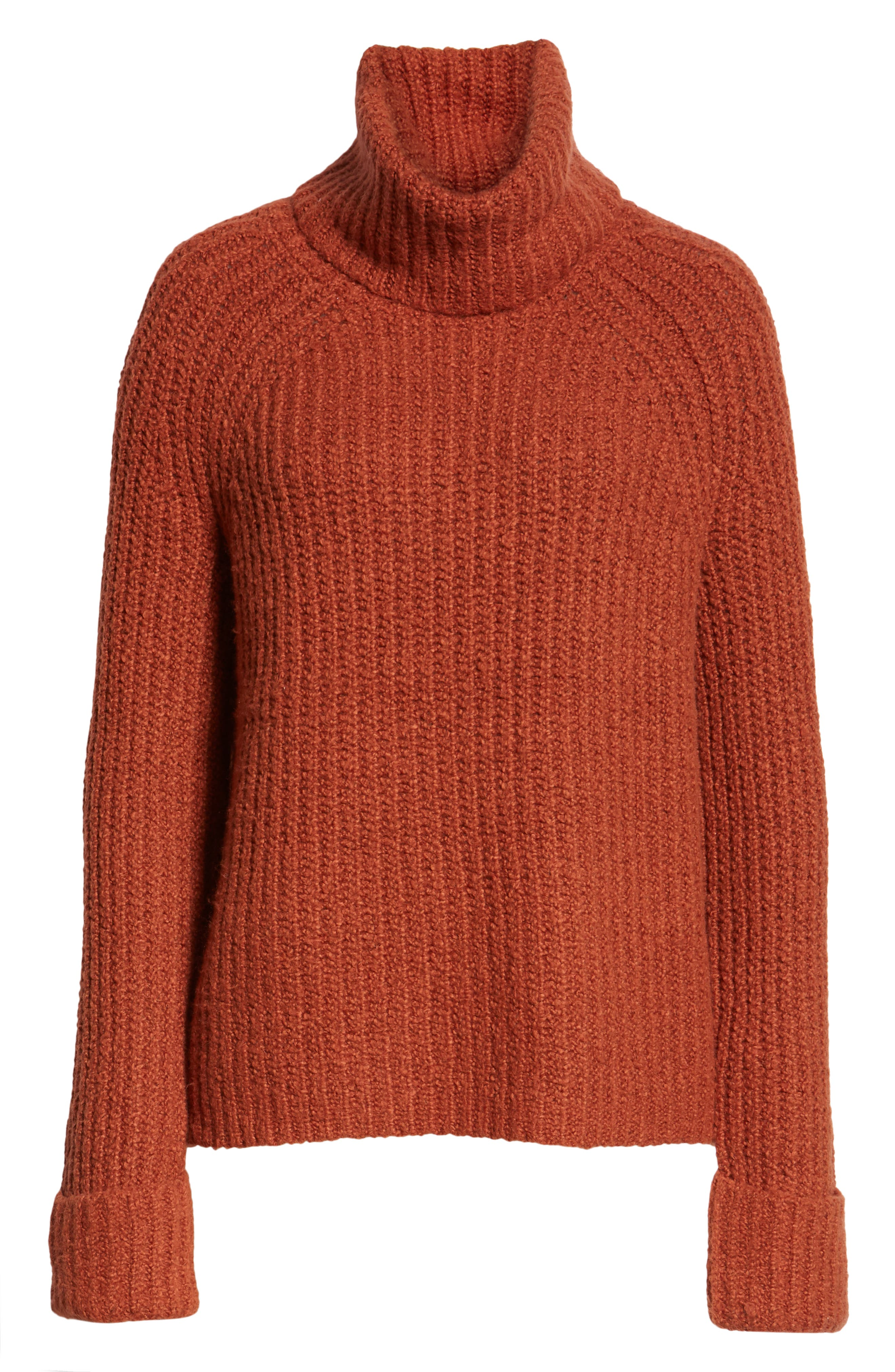 Cozy Turtleneck Sweater,                             Alternate thumbnail 6, color,                             RUST SEQUOIA