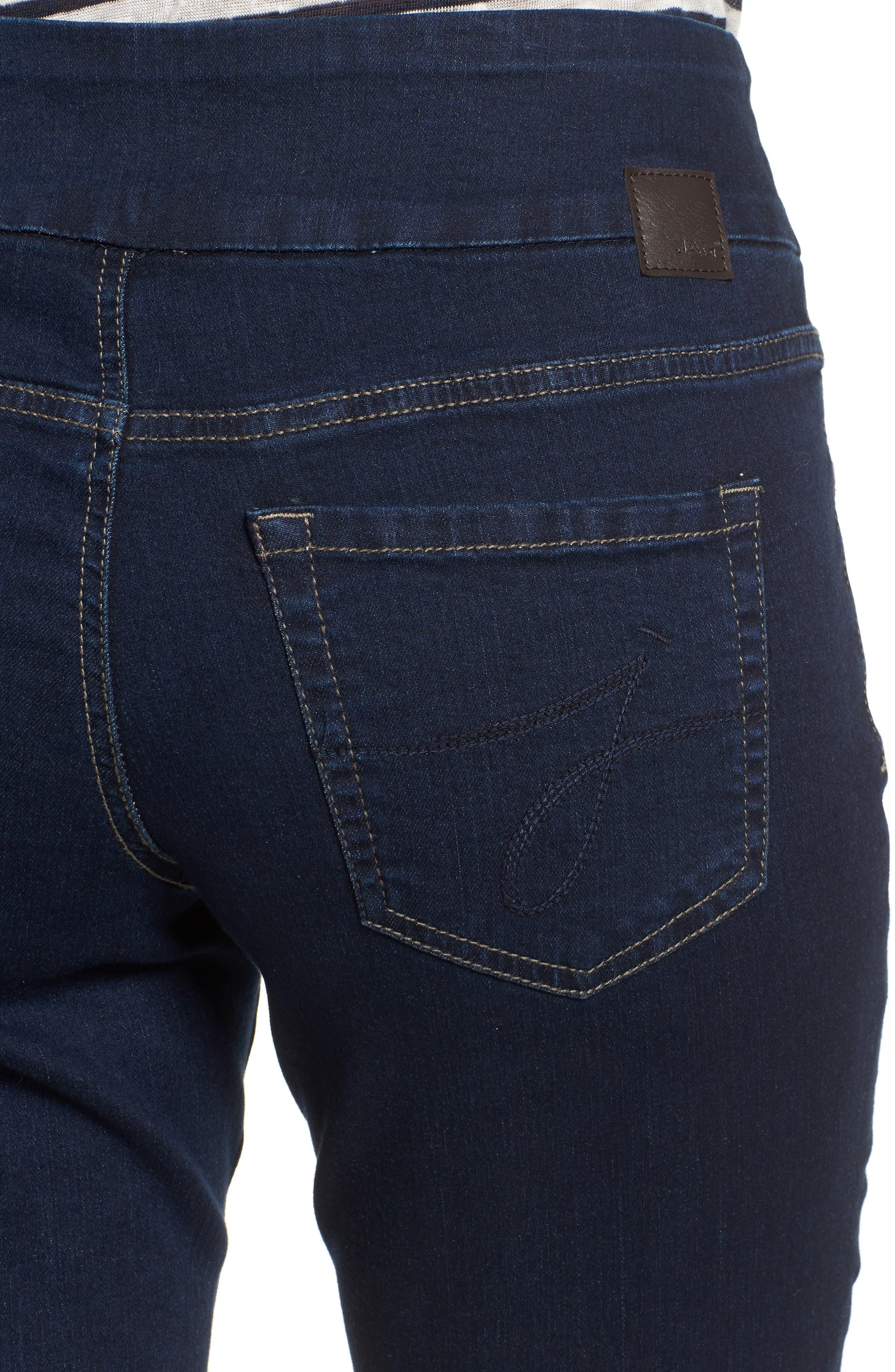 Peri Pull-On Straight Leg Jeans,                             Alternate thumbnail 4, color,                             DARK INDIGO