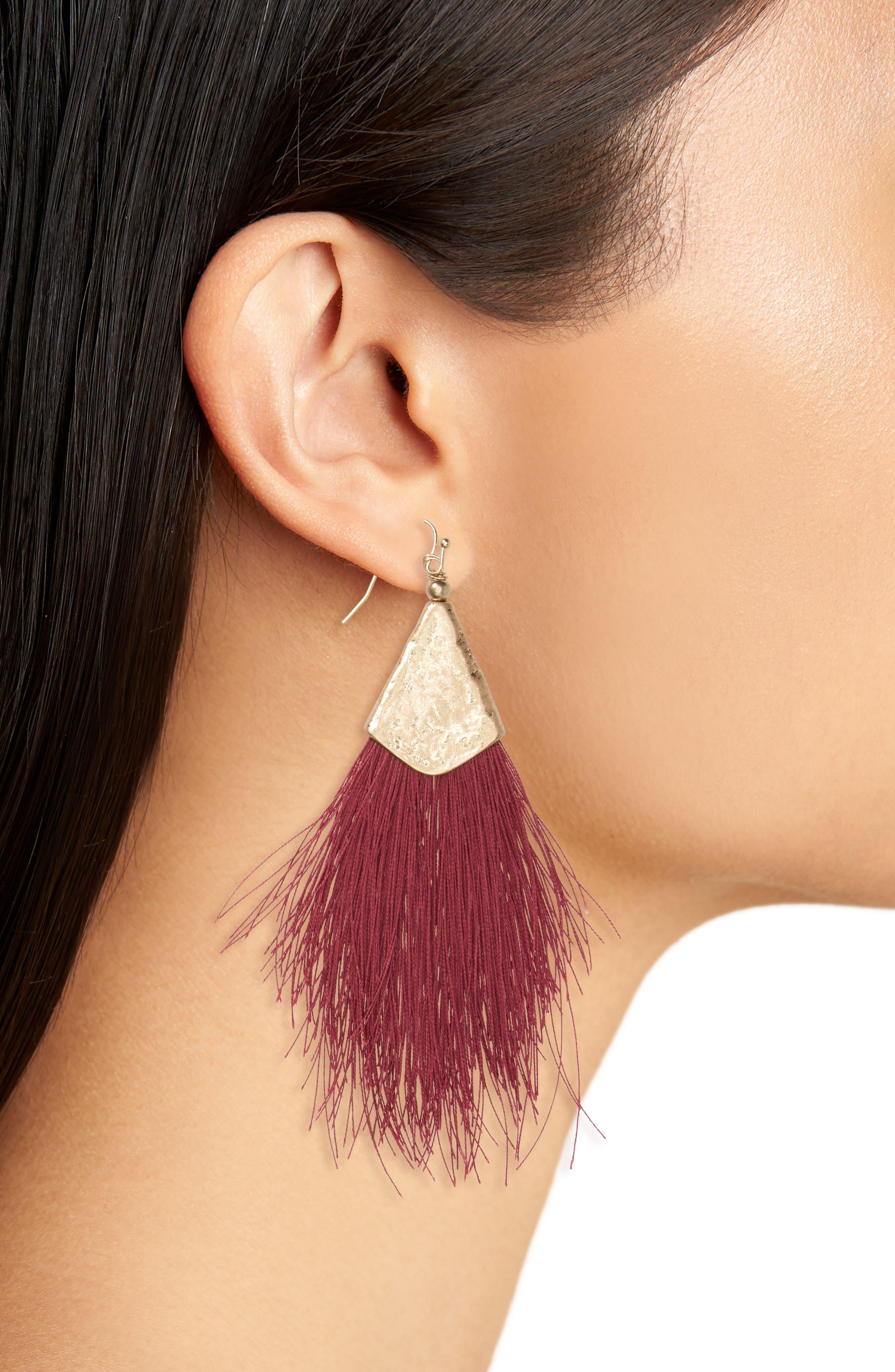 Fan Tassel Earrings,                             Alternate thumbnail 7, color,
