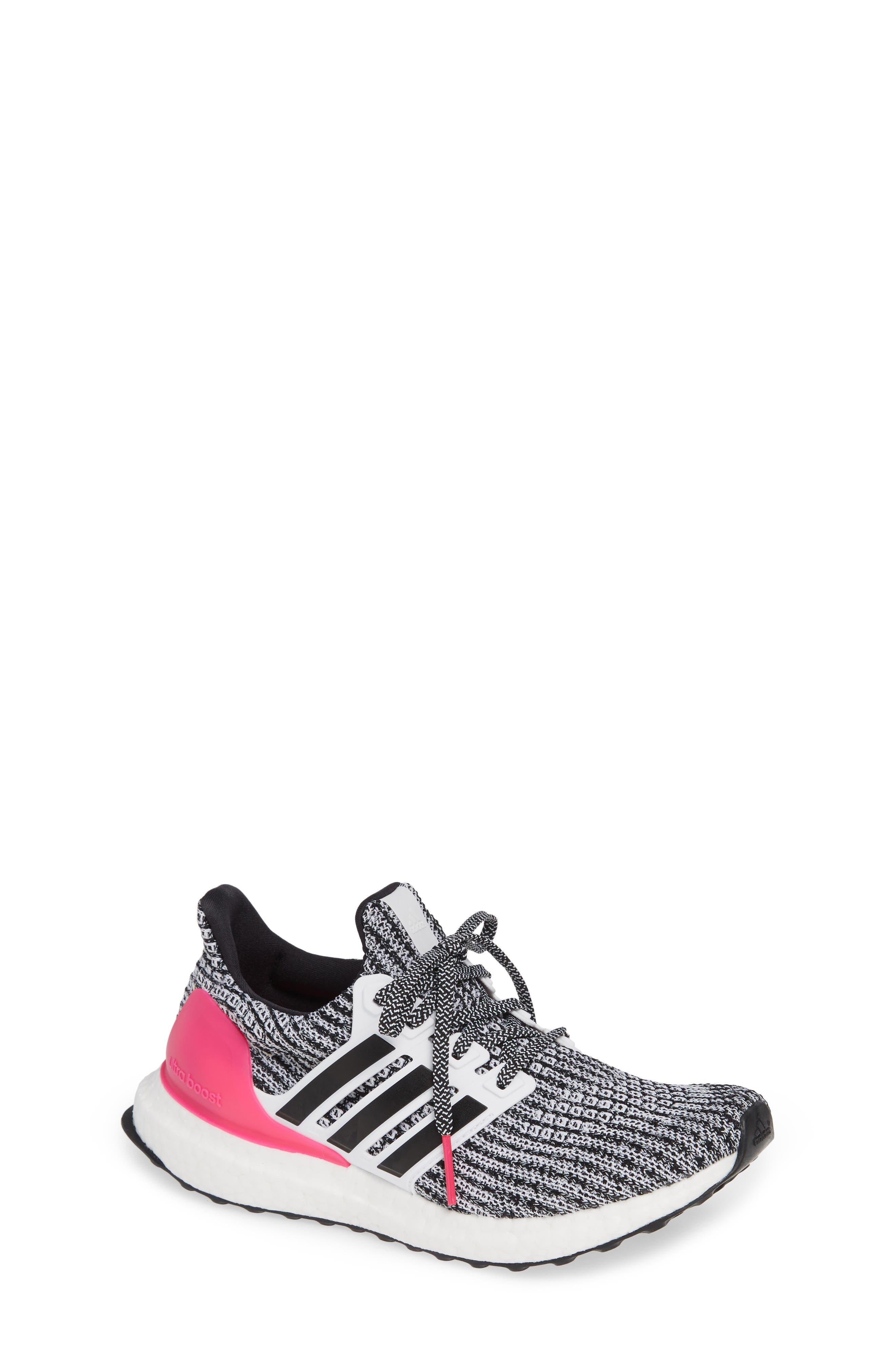UltraBoost Sneaker,                             Main thumbnail 1, color,                             WHITE/ BLACK/ SHOCK PINK