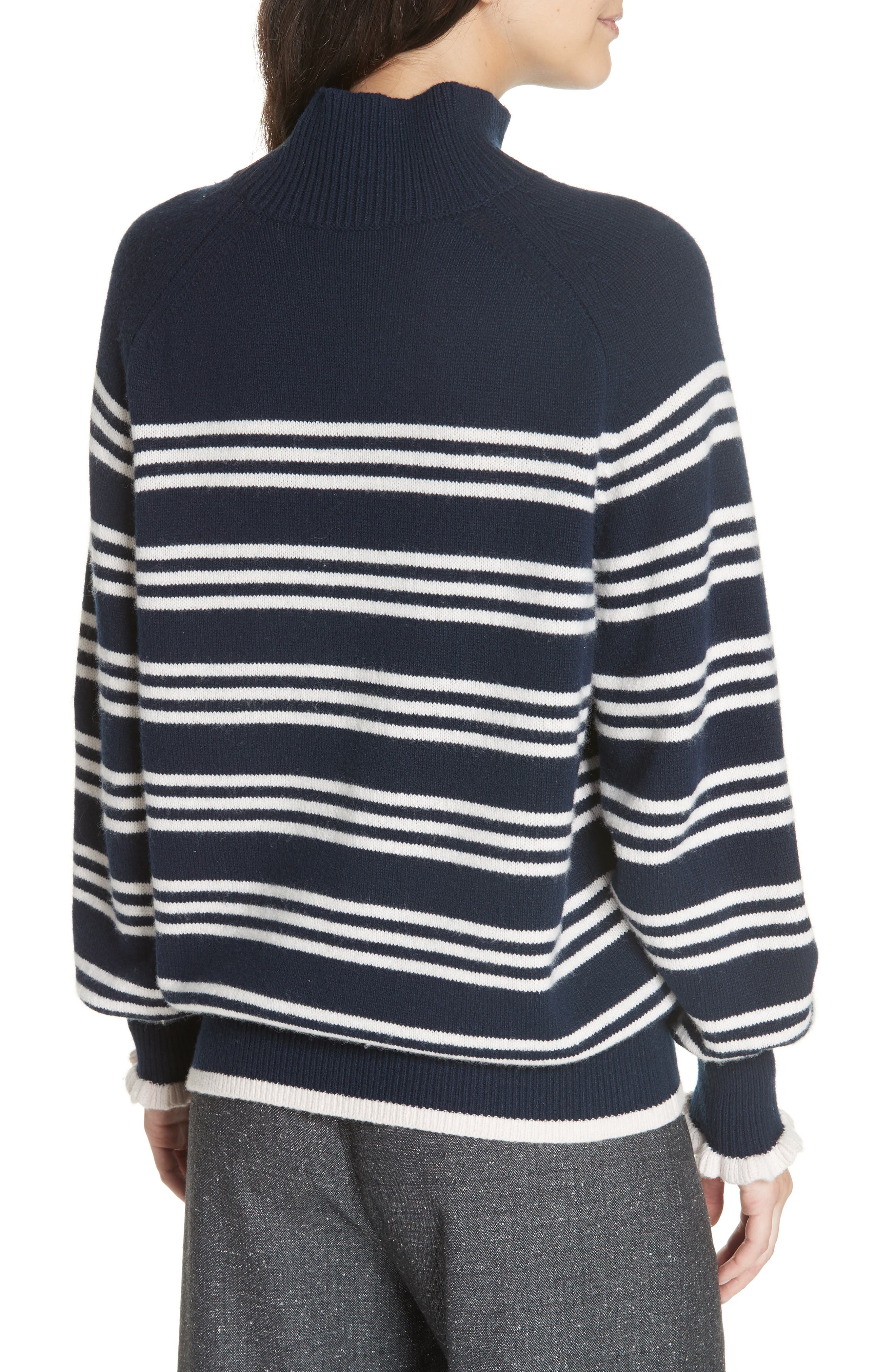 Striped Wool Cotton Blend Blouson Sleeve Sweater,                             Alternate thumbnail 2, color,                             NAVY COMBO