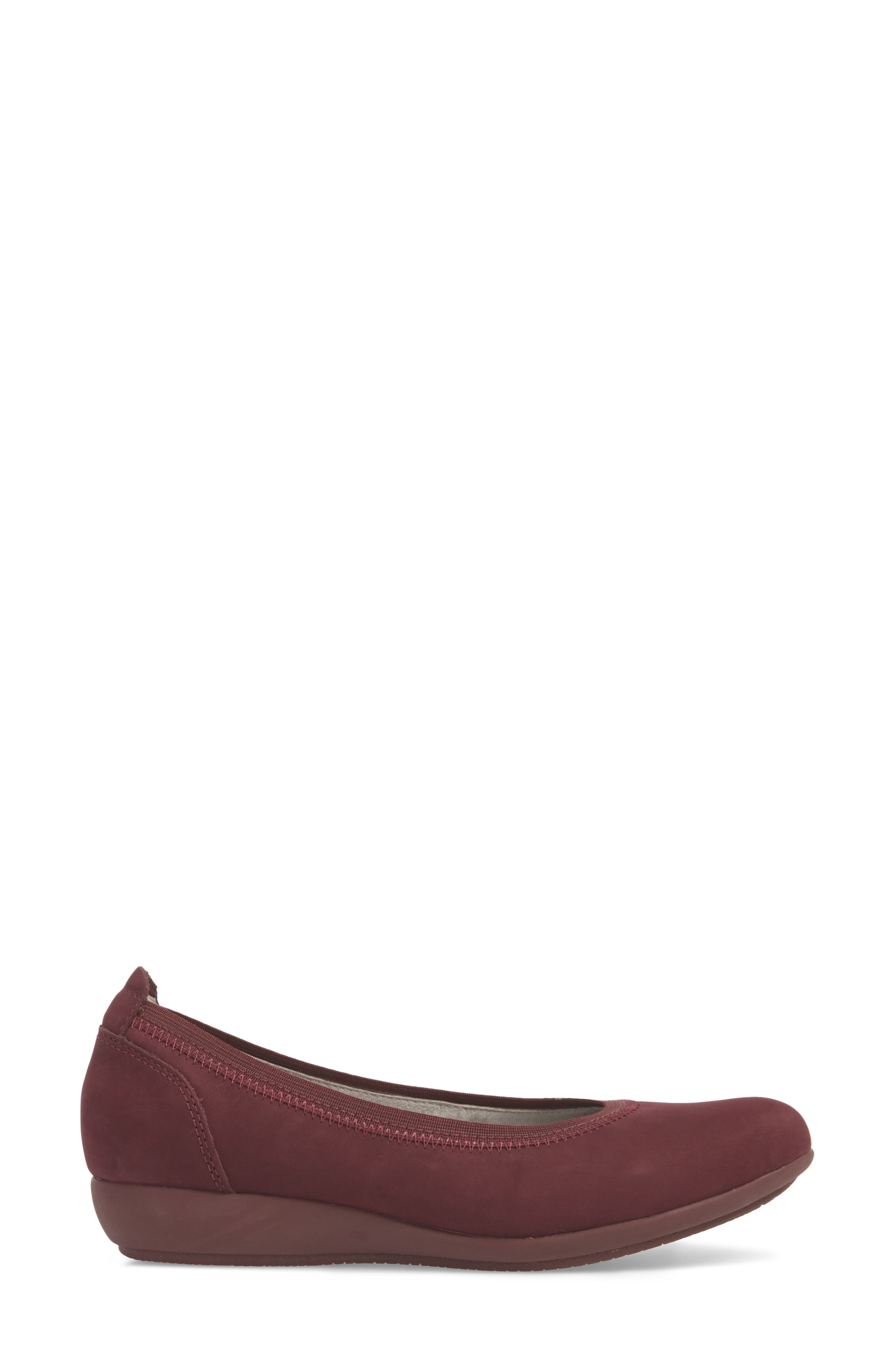 Kristen Ballet Flat,                             Alternate thumbnail 3, color,                             WINE MILLED NUBUCK