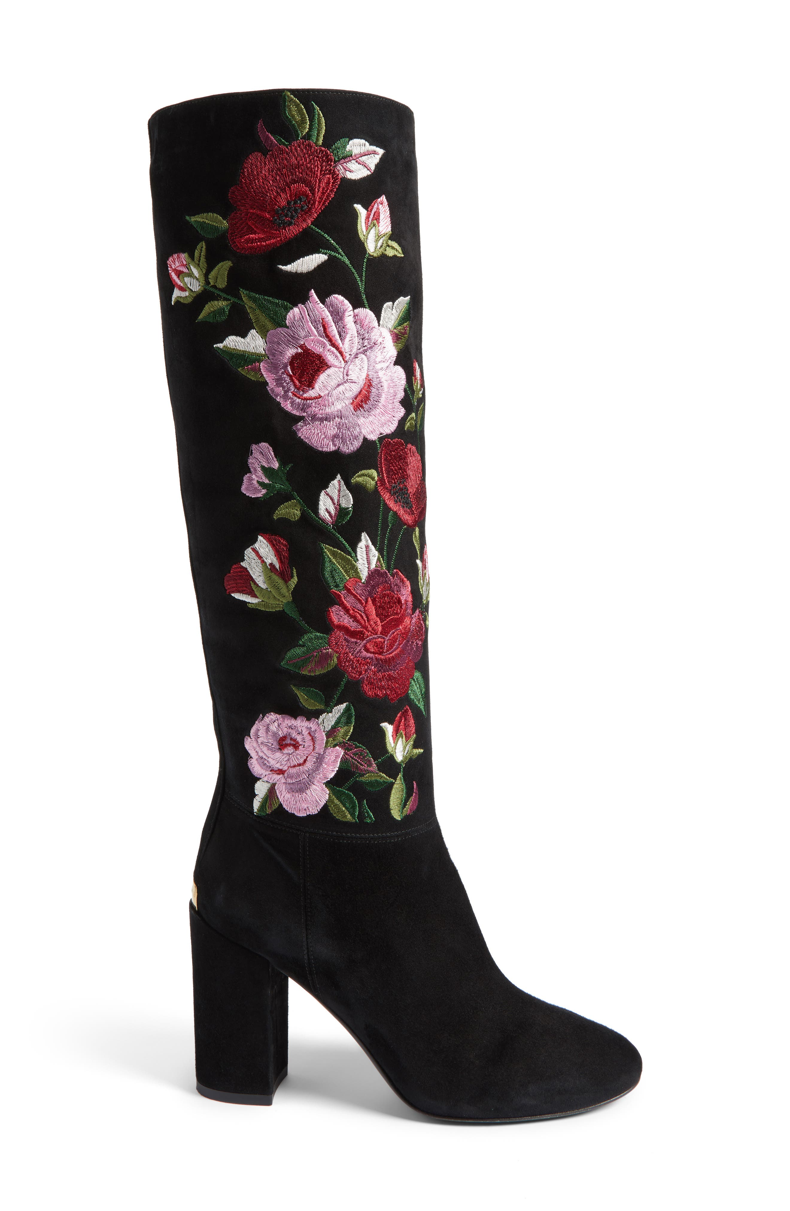 greenfield flower embroidered boot,                             Alternate thumbnail 3, color,                             001