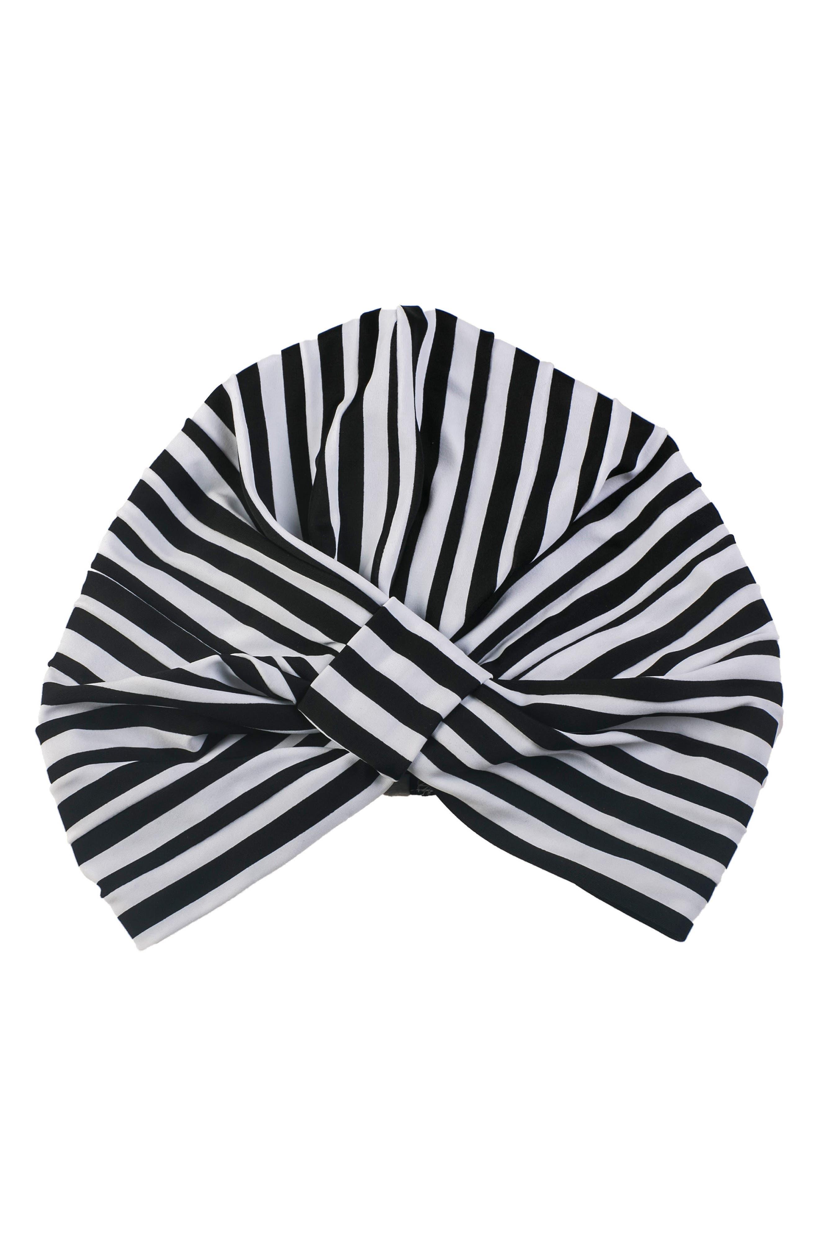 Amelie Turban Shower Cap,                         Main,                         color, MONOCHROME STRIPE