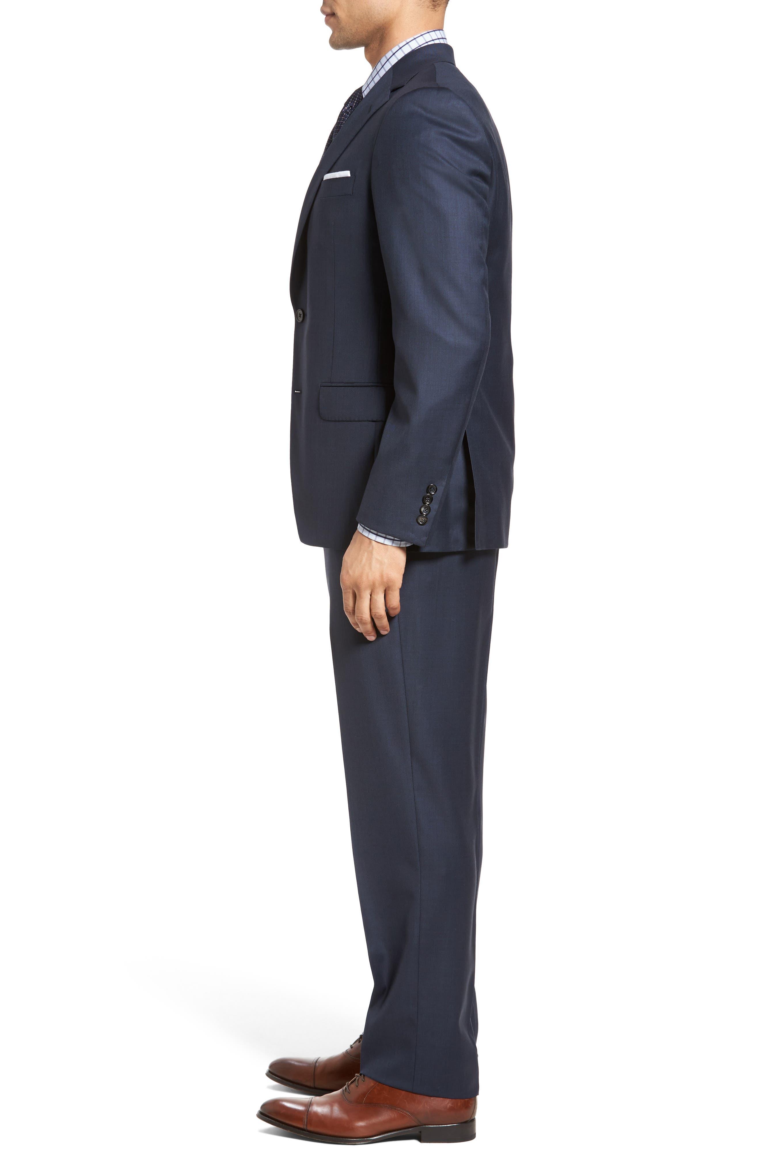 Classic Fit Sharkskin Wool Suit,                             Alternate thumbnail 3, color,                             410