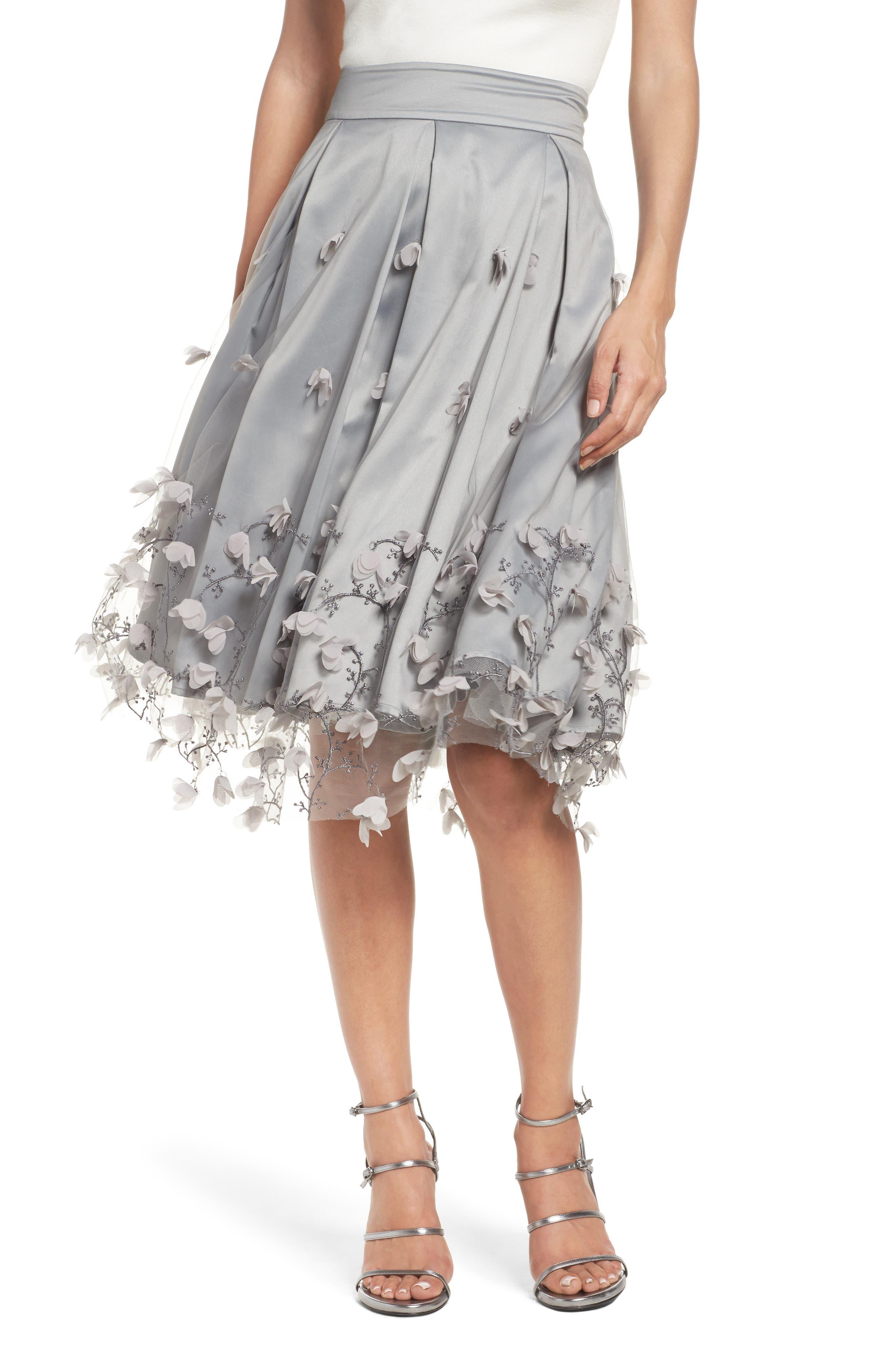 Floral Appliqué Ball Skirt,                             Main thumbnail 1, color,                             030