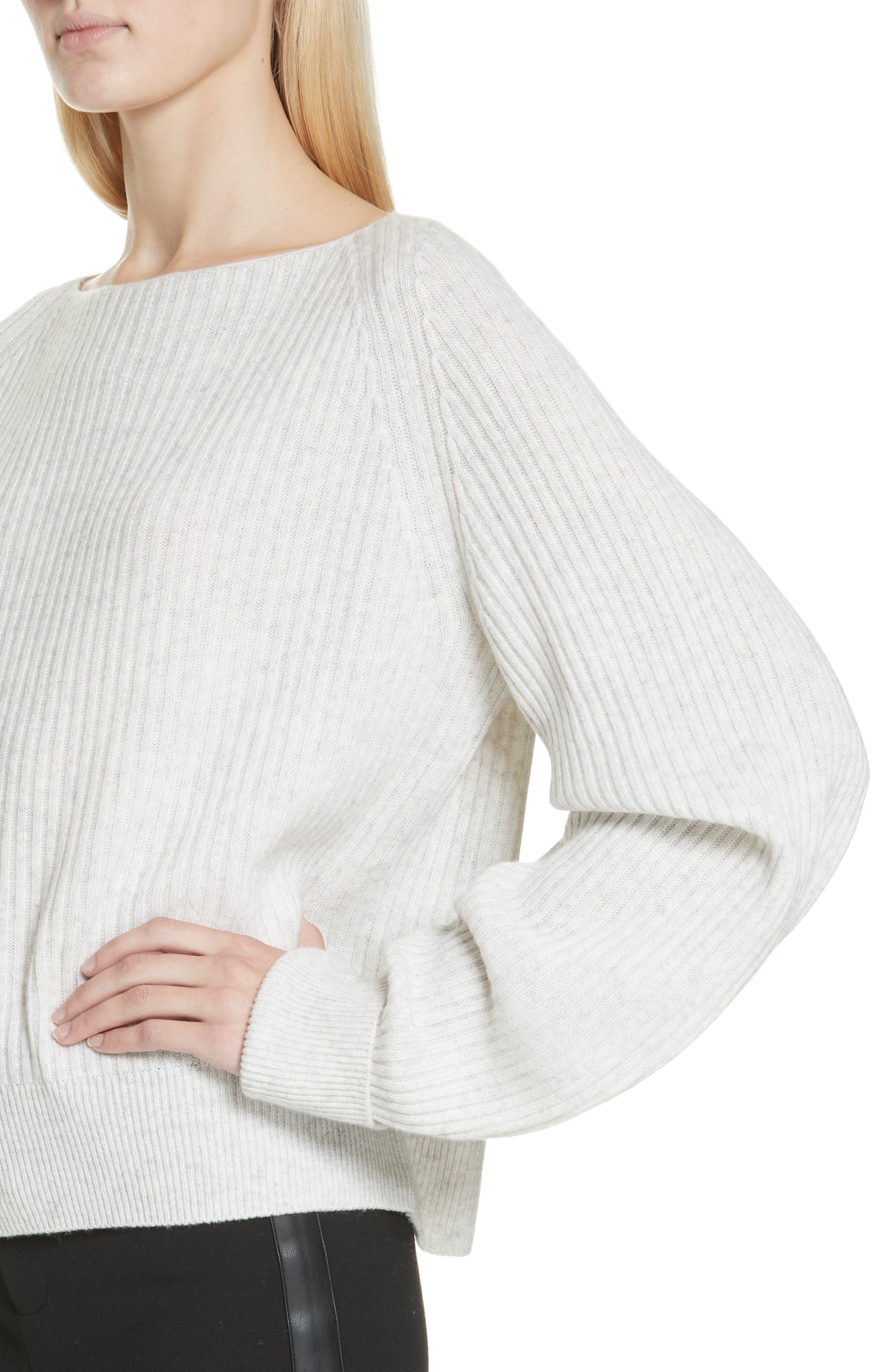Ribbed Bateau Neck Sweater,                             Alternate thumbnail 4, color,                             HEATHER CLOUD
