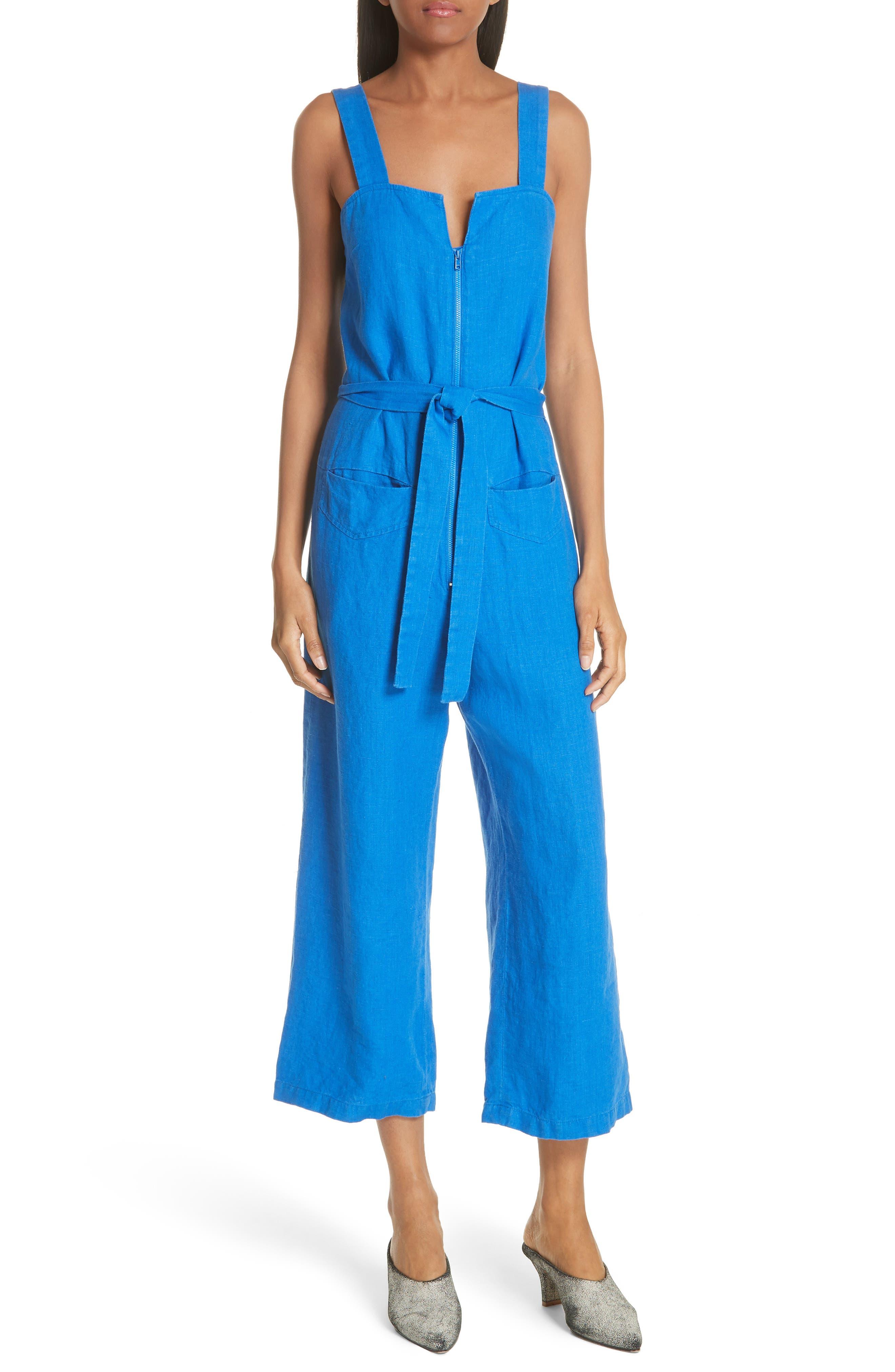 Bend Linen Jumpsuit,                             Main thumbnail 1, color,                             LAPIS