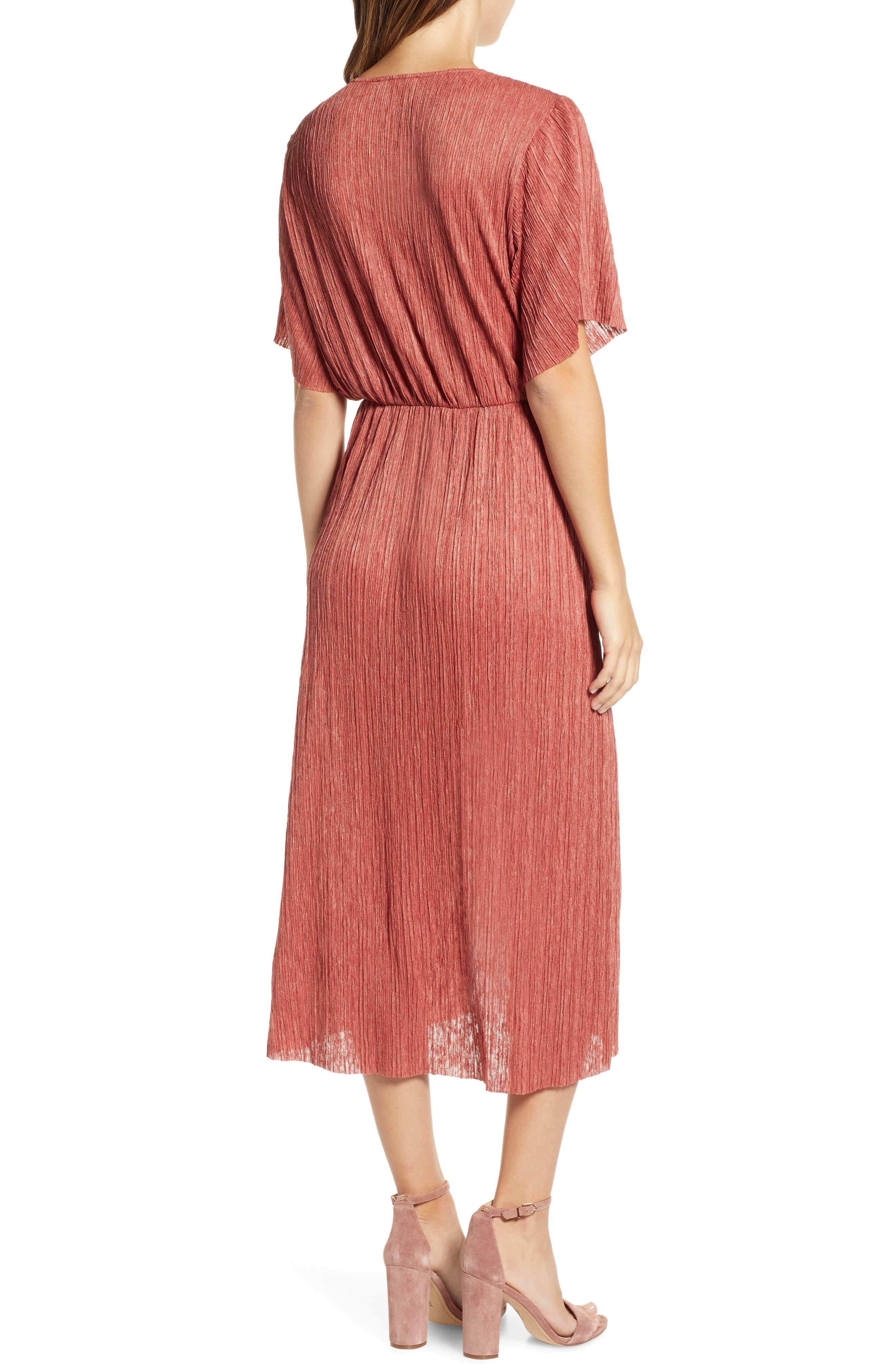Dolman Plissé Midi Dress,                             Alternate thumbnail 2, color,                             RUST LEAF