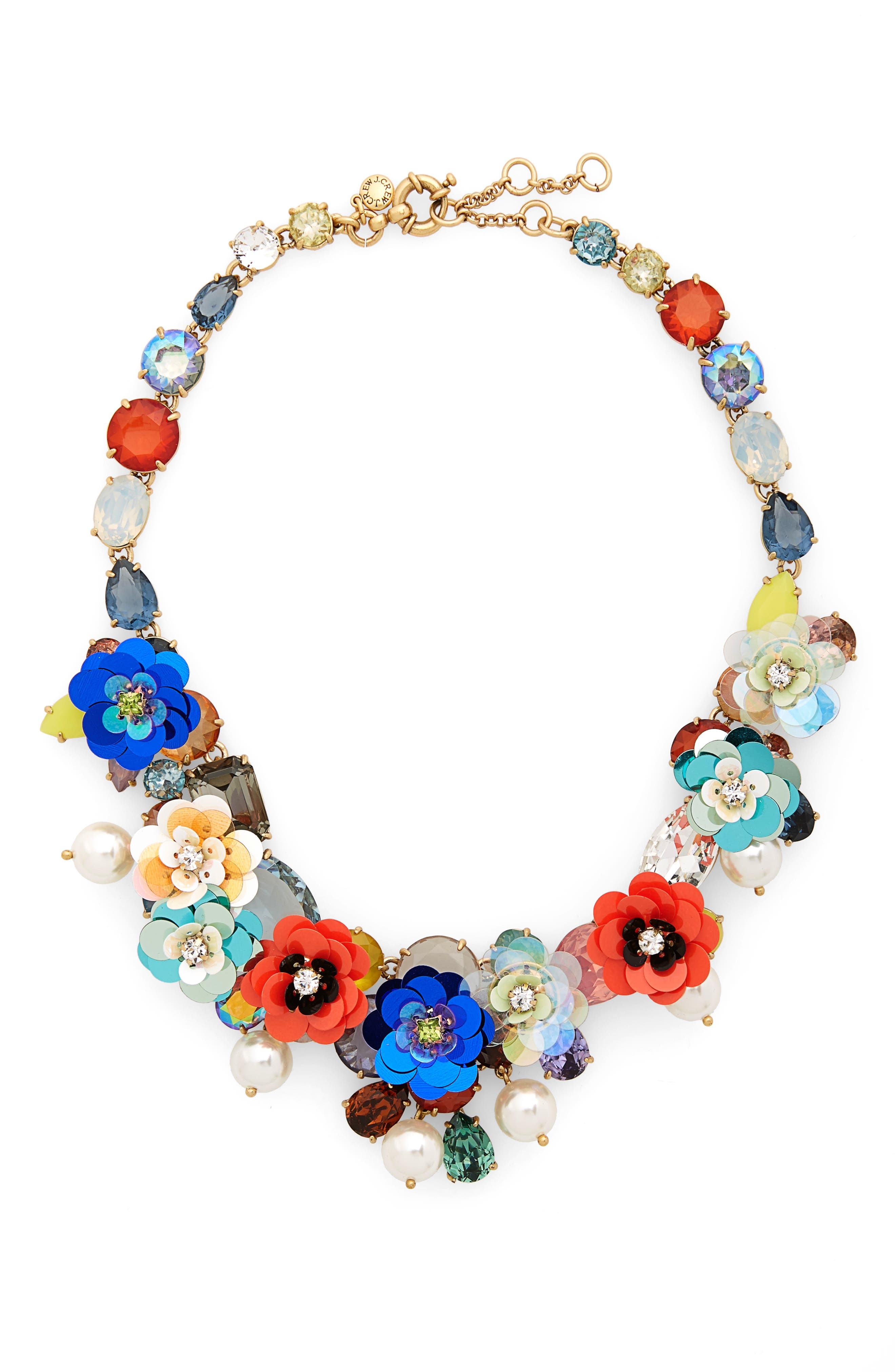 Crystal & Sequin Wreath Necklace,                         Main,                         color, 400