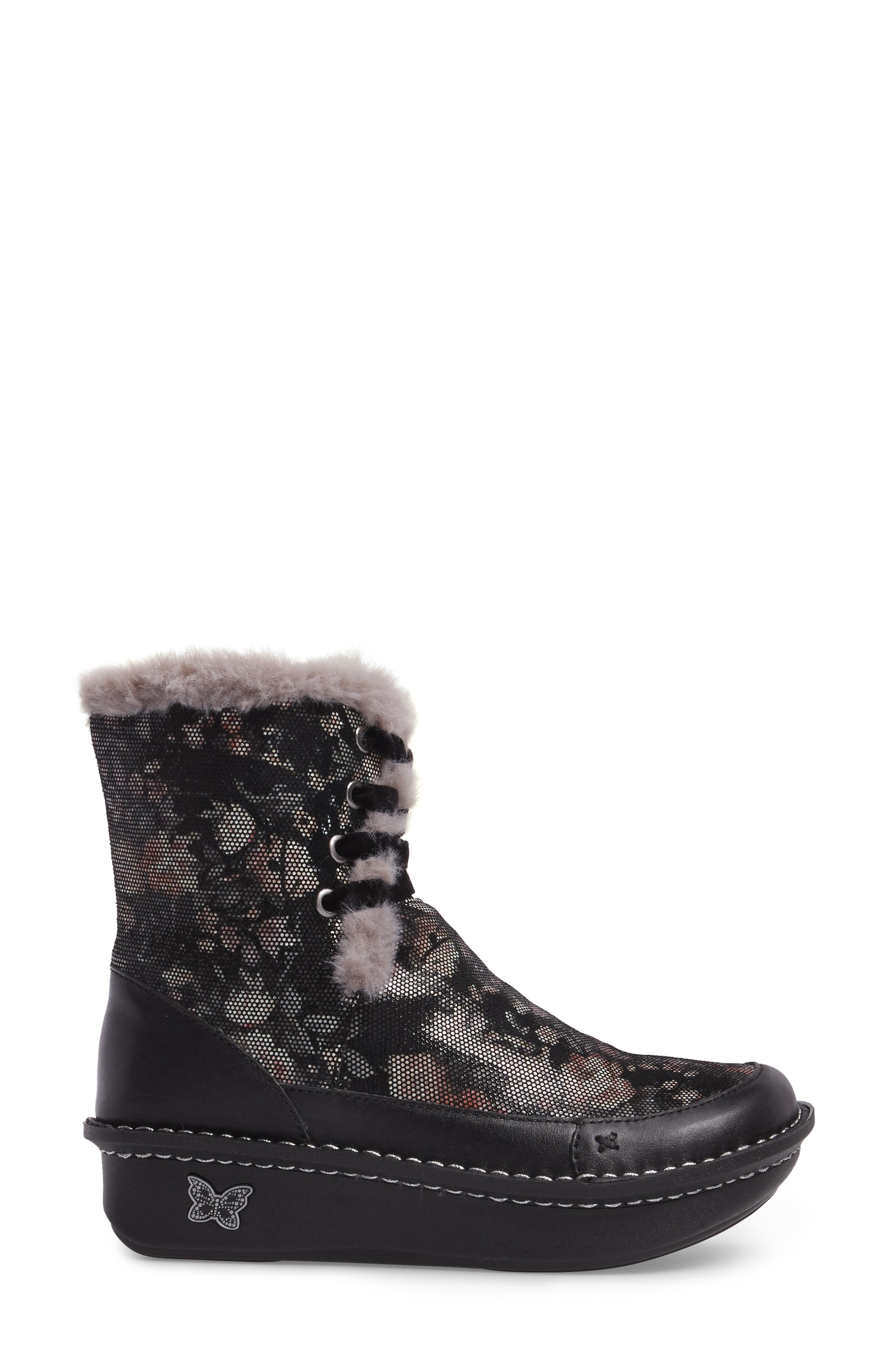 Twisp Lace-Up Boot with Faux Fur Lining,                             Alternate thumbnail 3, color,                             001