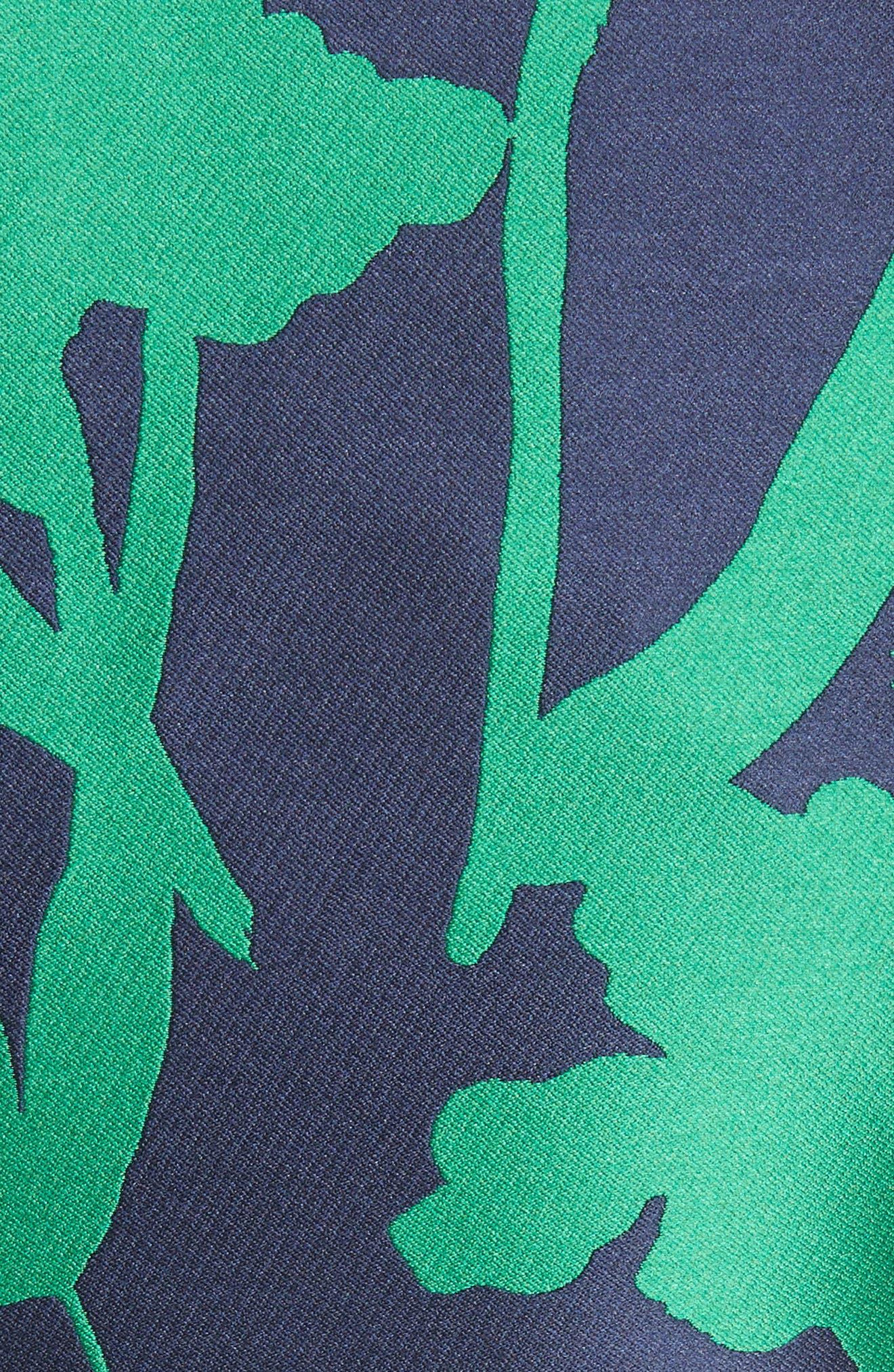 Leaf Print Belted Mikado Dress,                             Alternate thumbnail 5, color,                             404
