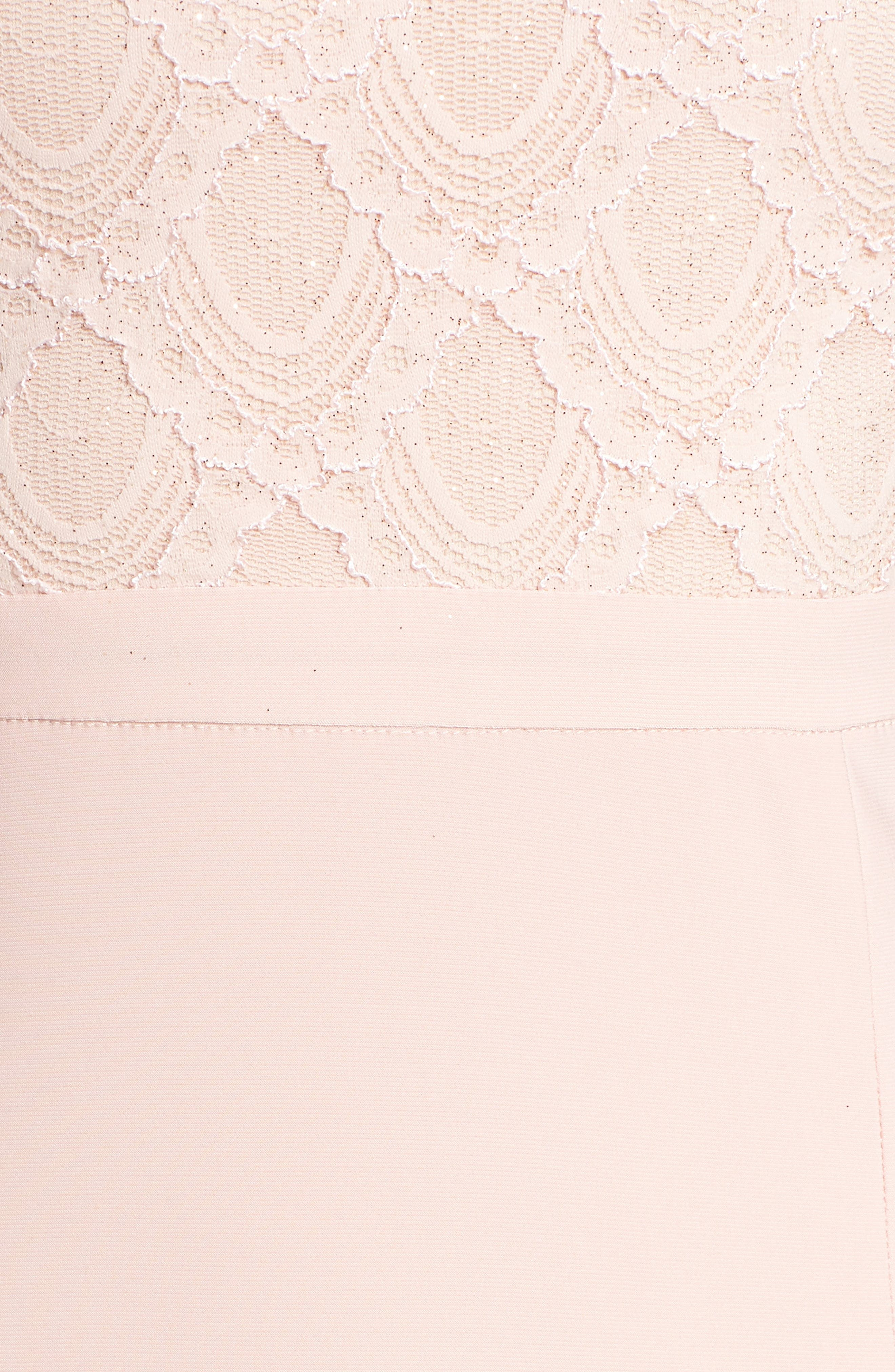 Lace Cutaway Bodice Gown,                             Alternate thumbnail 5, color,                             BLUSH / NUDE