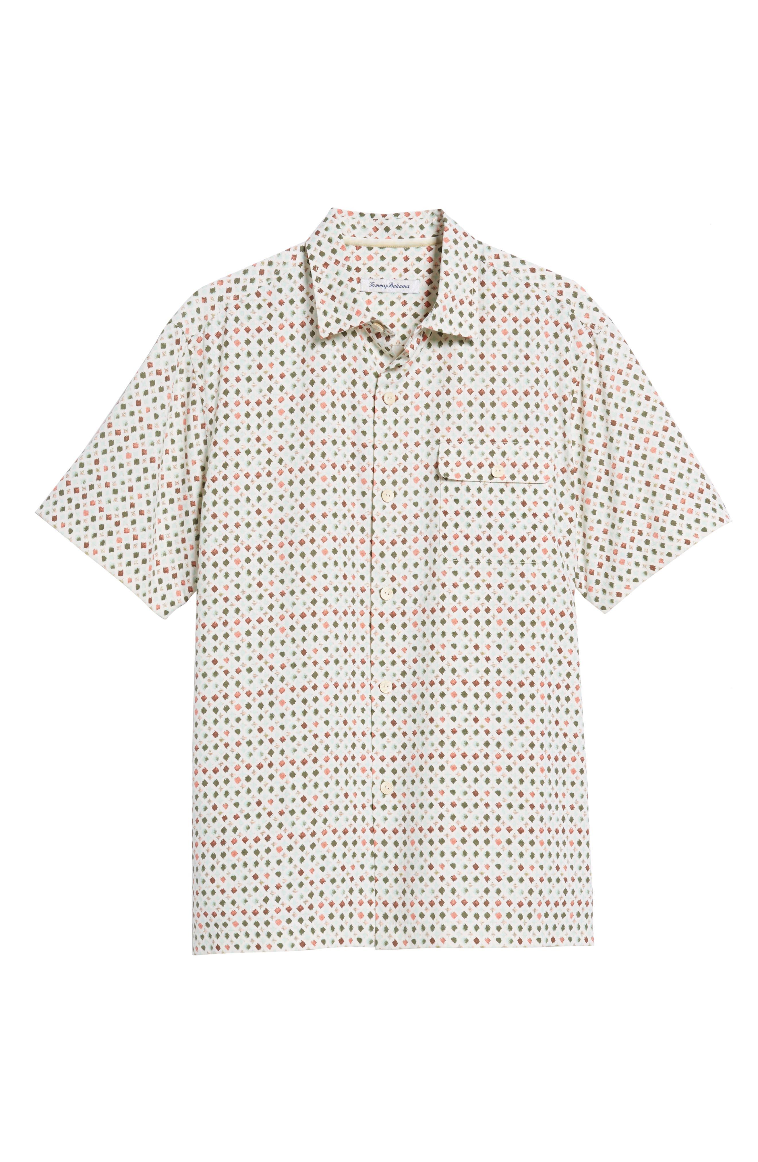 Atomic Geo Print Silk Sport Shirt,                             Alternate thumbnail 6, color,                             COCONUT CREAM