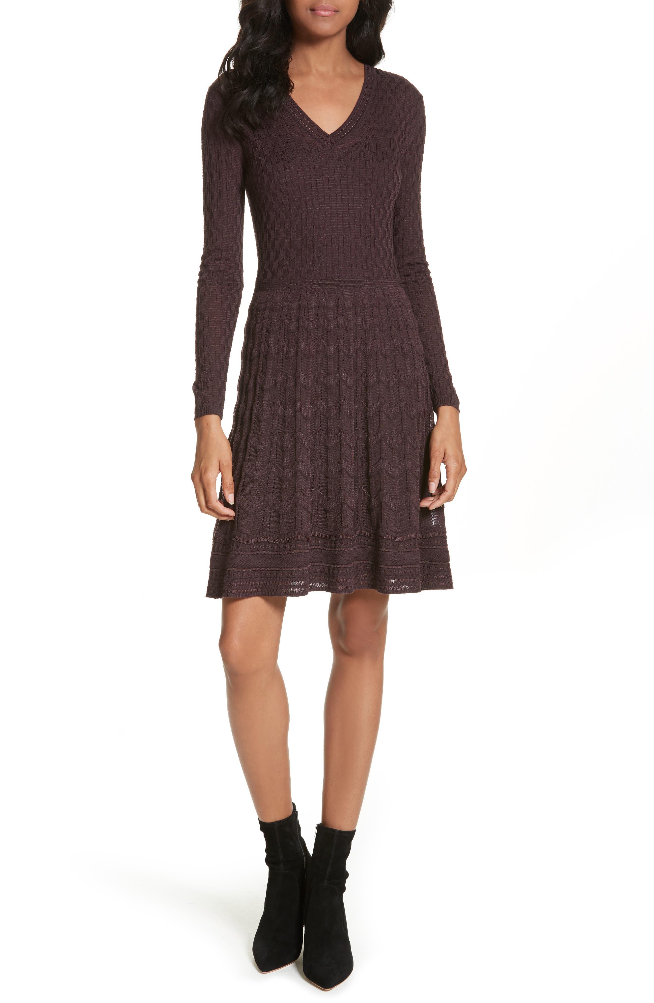 Wool Blend Knit A-Line Dress,                             Main thumbnail 1, color,                             570