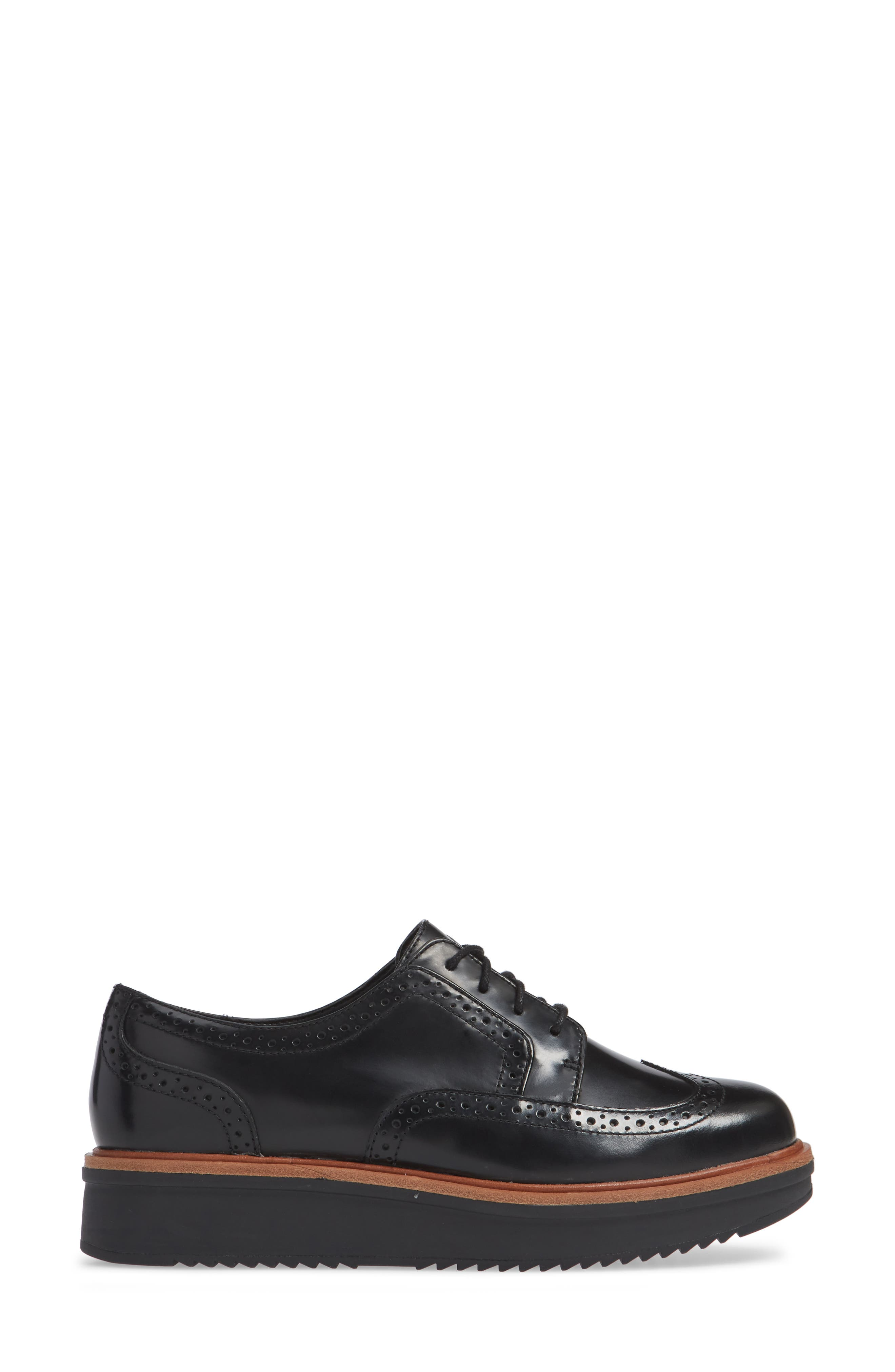 Teadale Maira Wingtip Derby,                             Alternate thumbnail 3, color,                             BLACK LEATHER