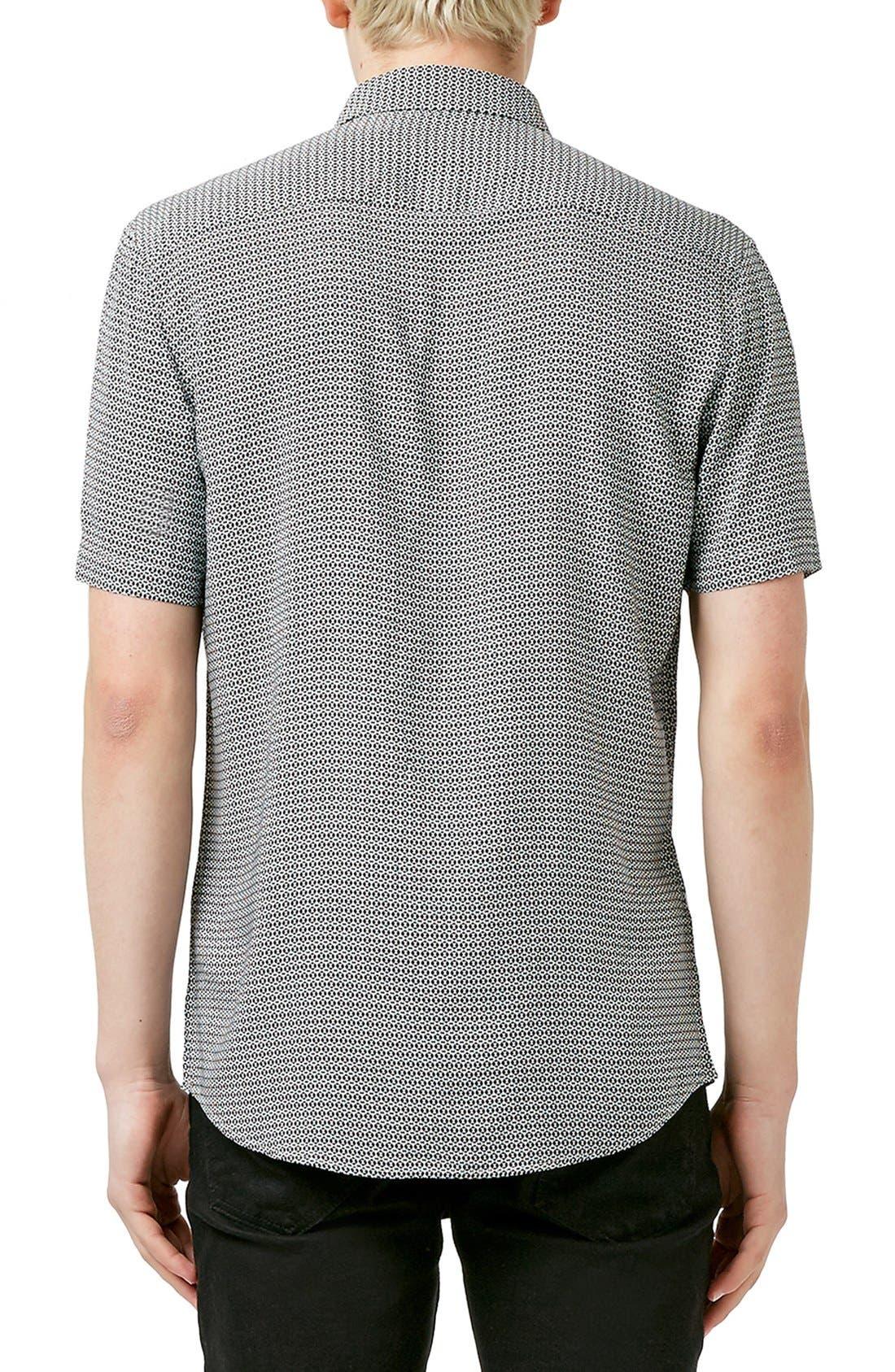 Slim Fit Short Sleeve Geo Print Shirt,                             Alternate thumbnail 5, color,                             001