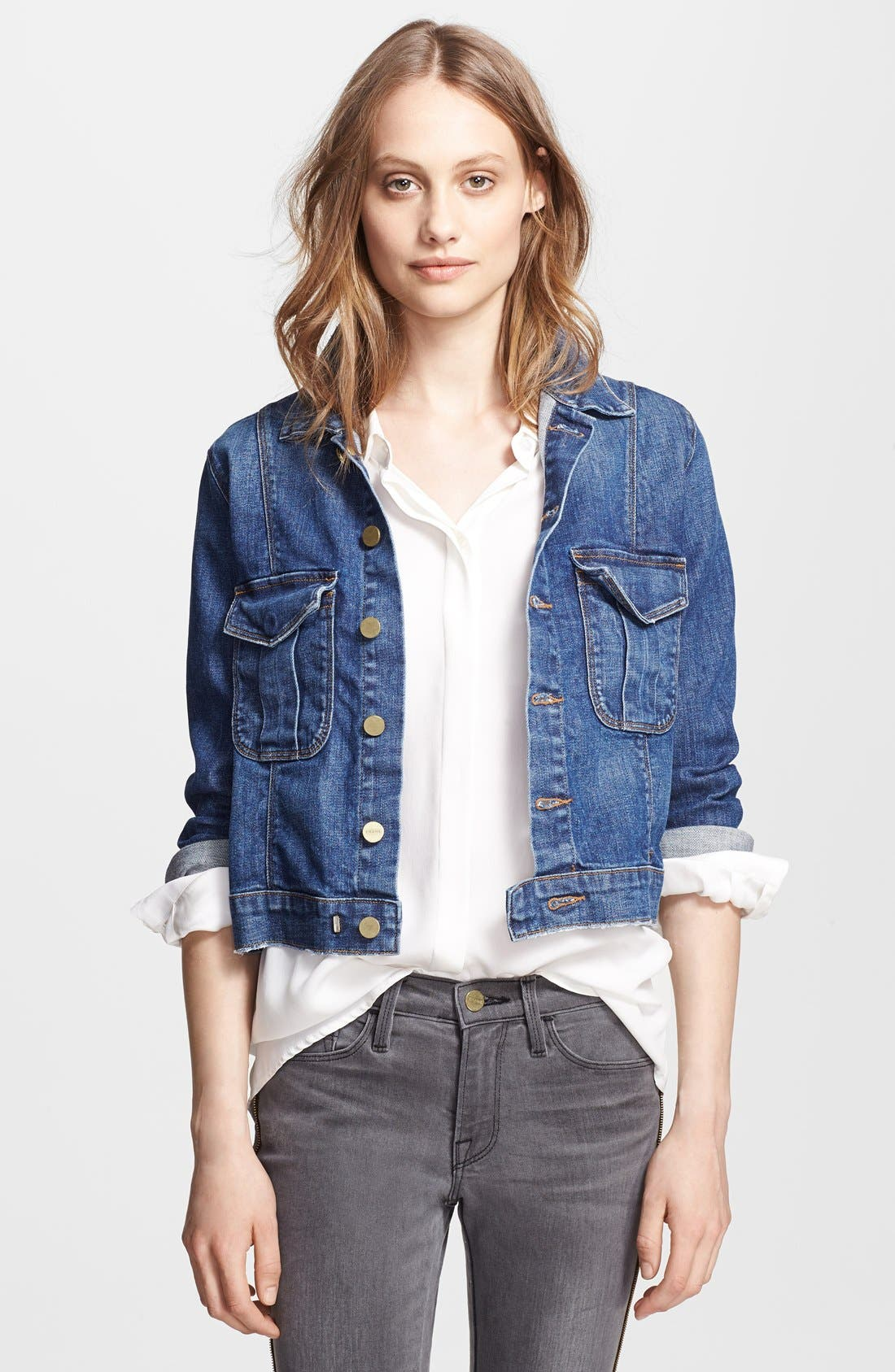 Denim 'Le Military' Denim Jacket,                         Main,                         color, 459