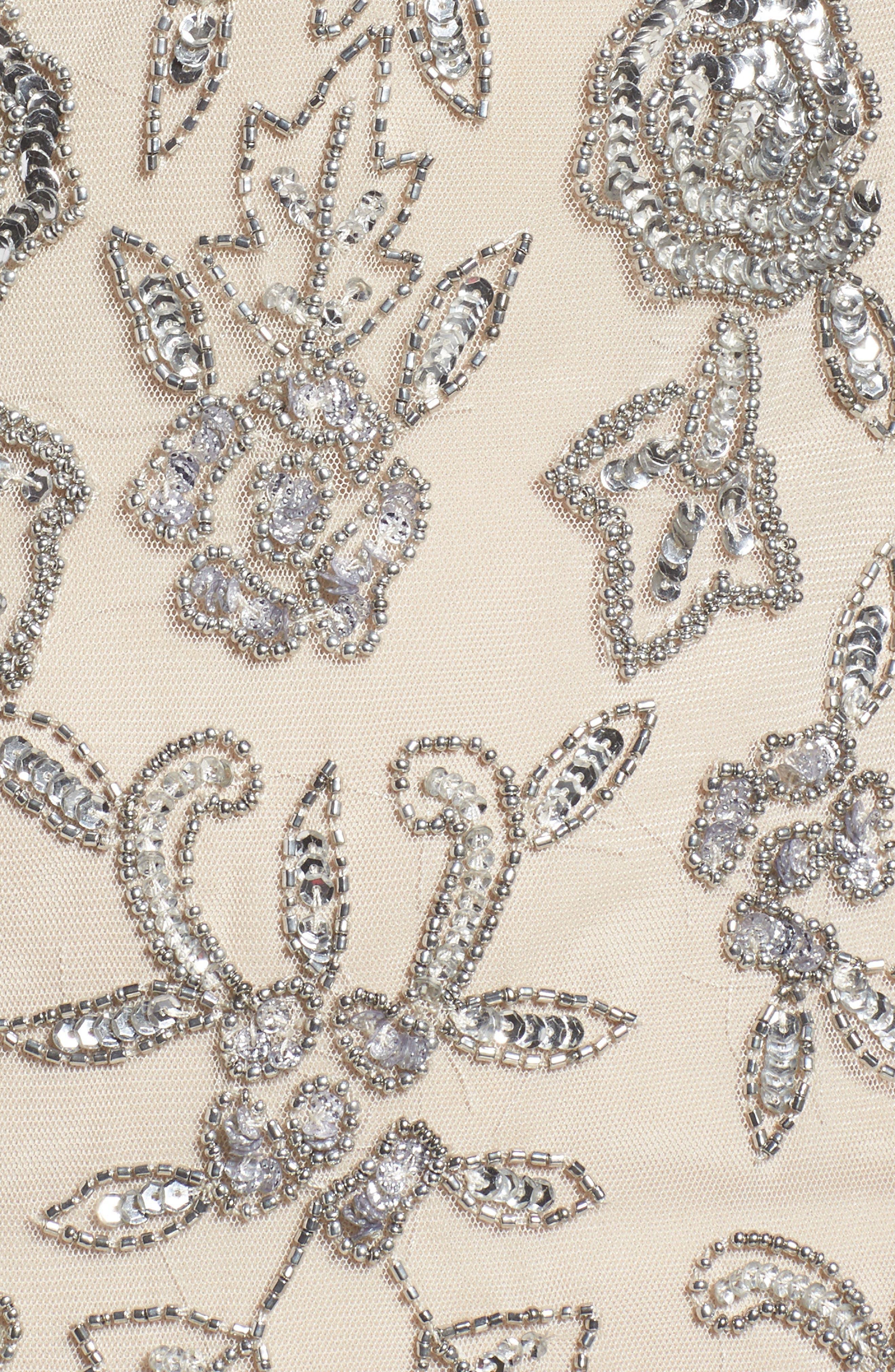 Fringe Bead Cold Shoulder Gown,                             Alternate thumbnail 5, color,