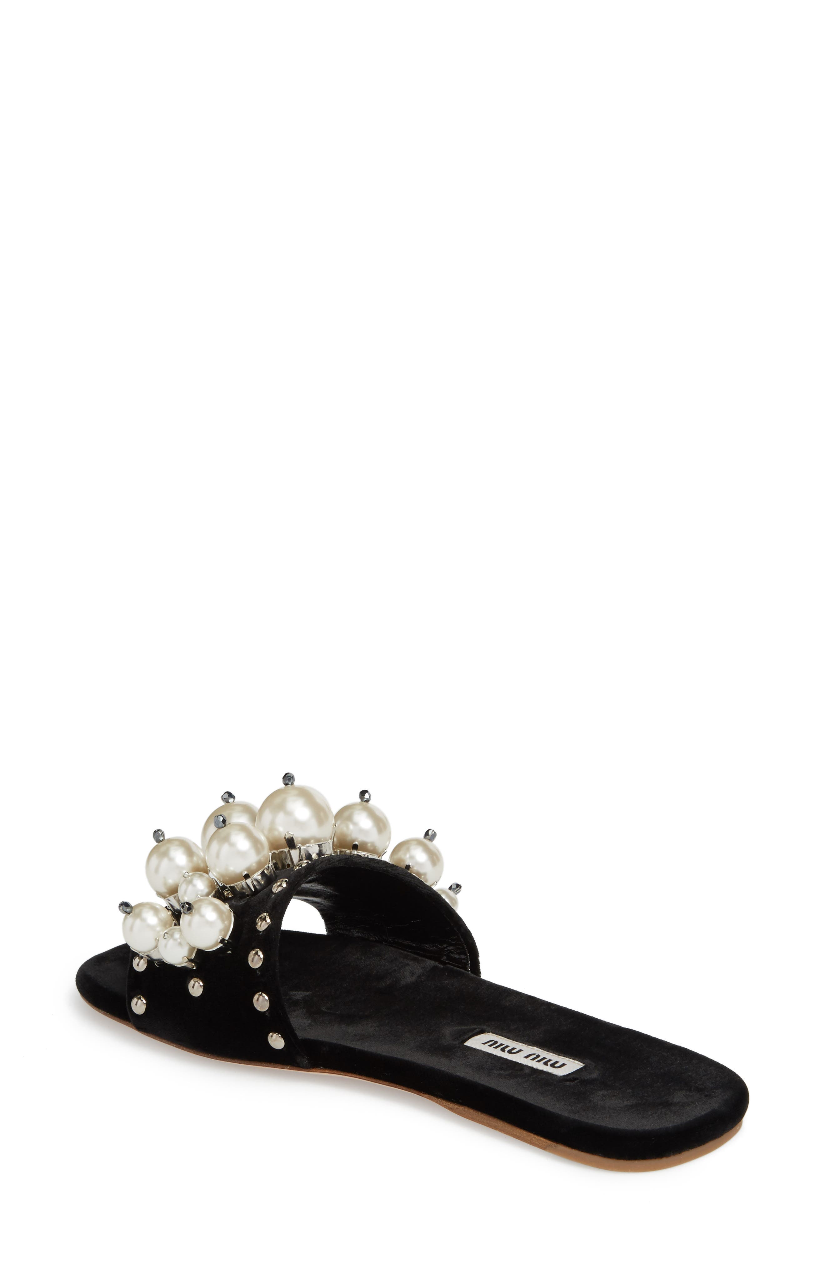Imitation Pearl Embellished Slide Sandal,                             Alternate thumbnail 2, color,                             001