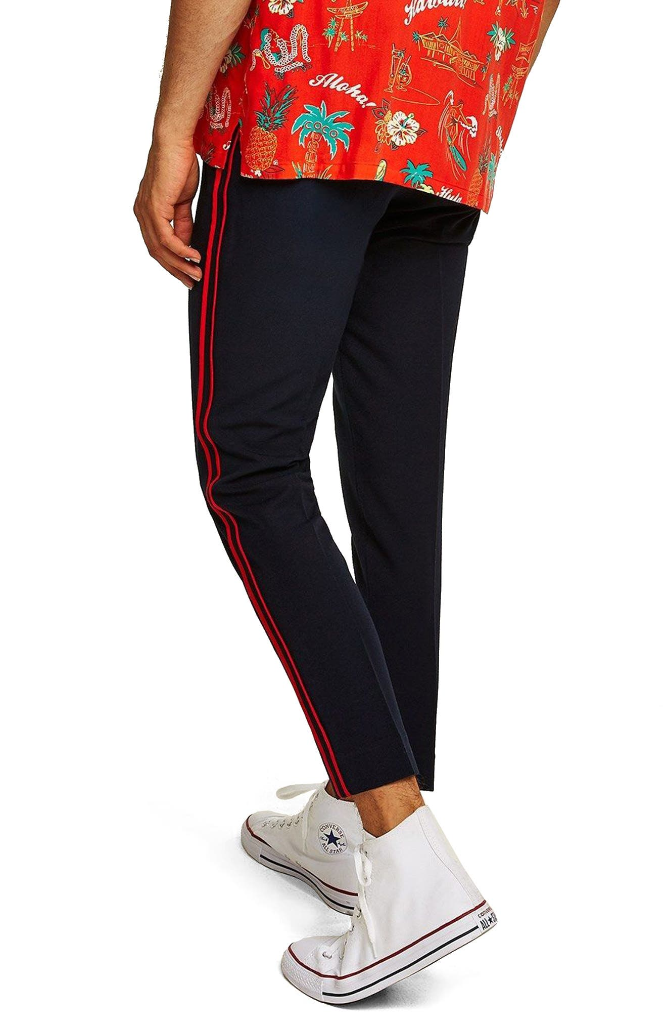 Side Stripe Skinny Fit Trousers,                             Alternate thumbnail 2, color,                             NAVY BLUE