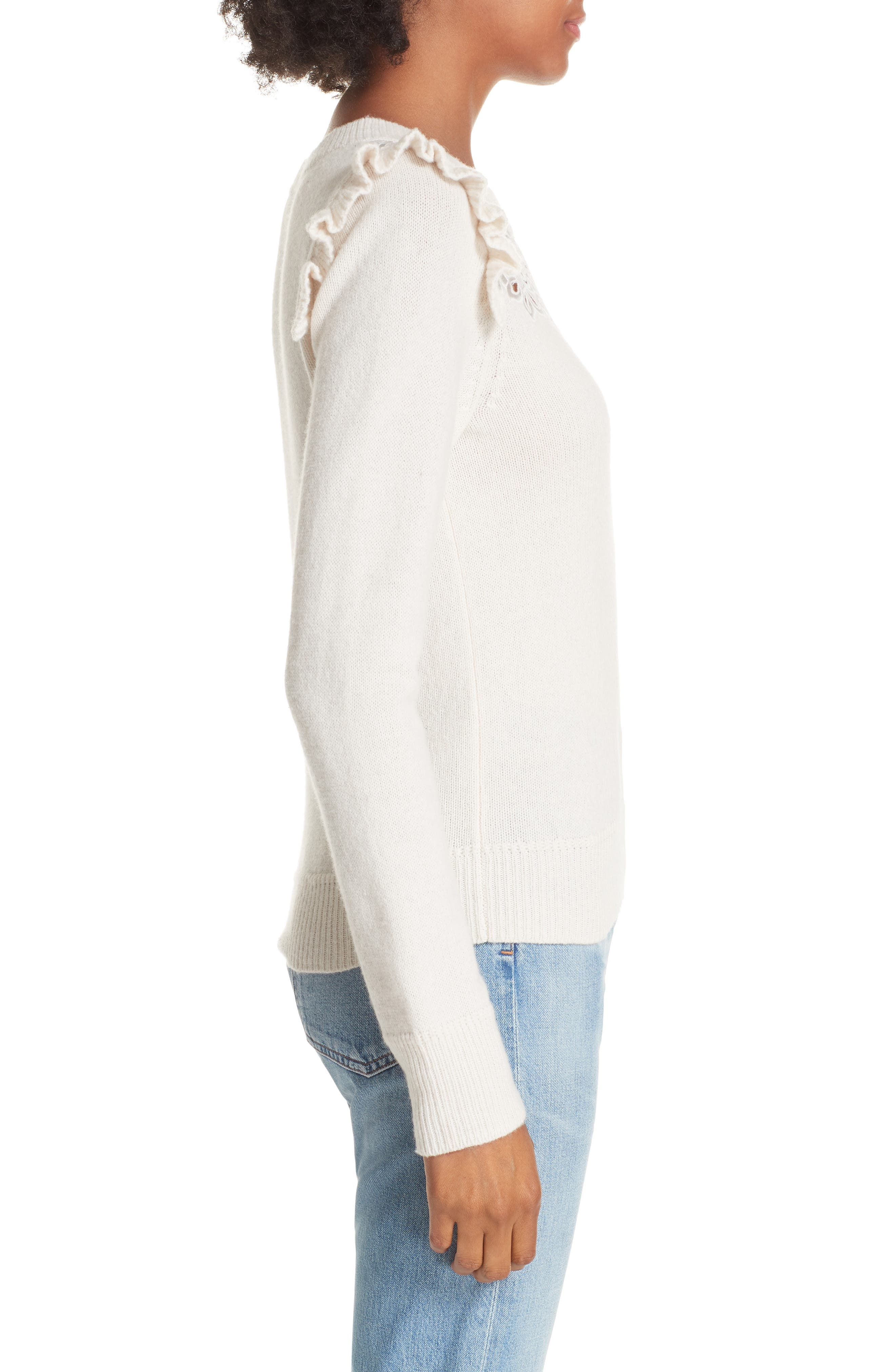 Emilie Embroidered Sweater,                             Alternate thumbnail 3, color,                             CREAM
