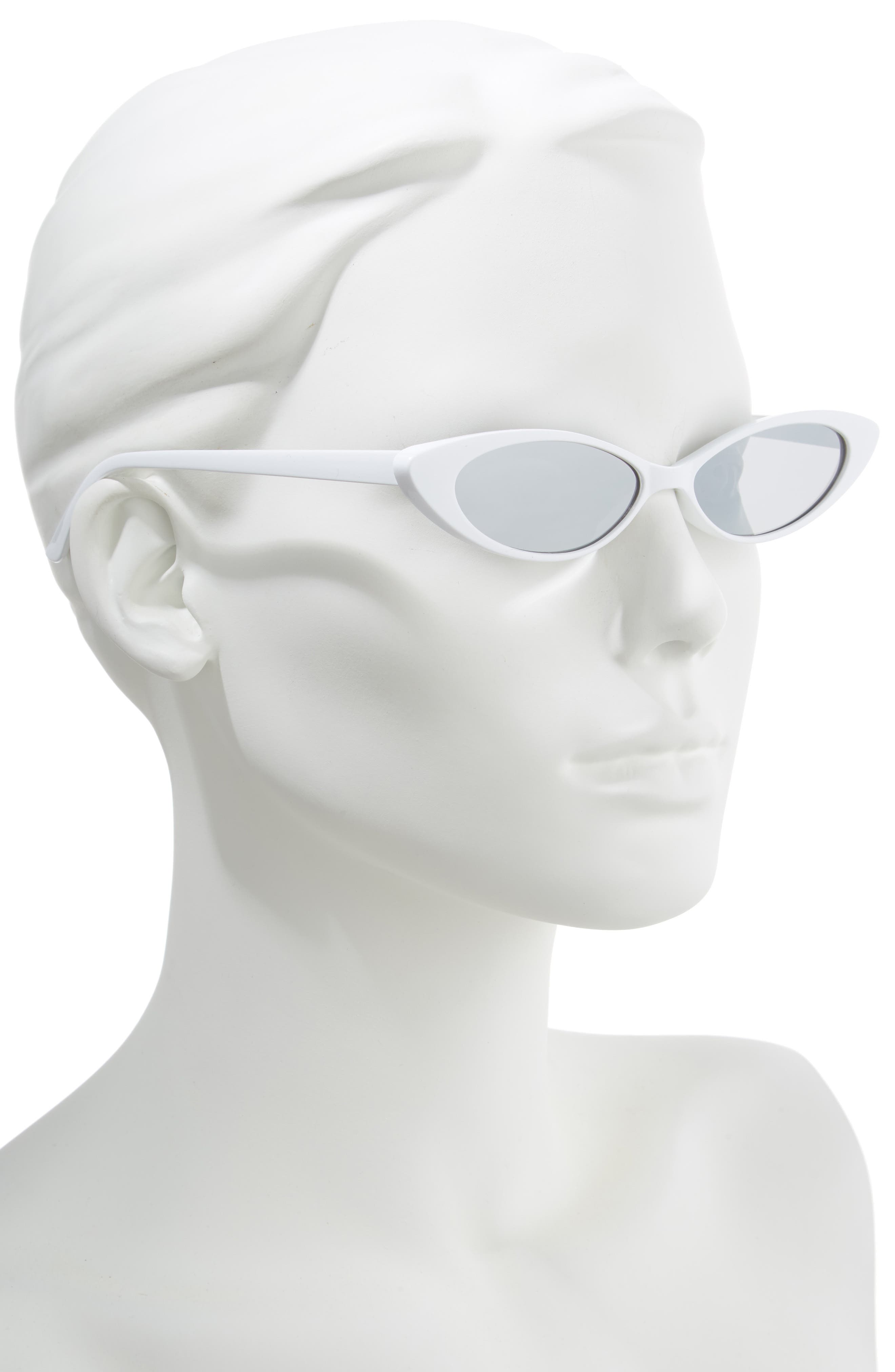 Oval Sunglasses,                             Alternate thumbnail 2, color,                             WHITE/ SILVER