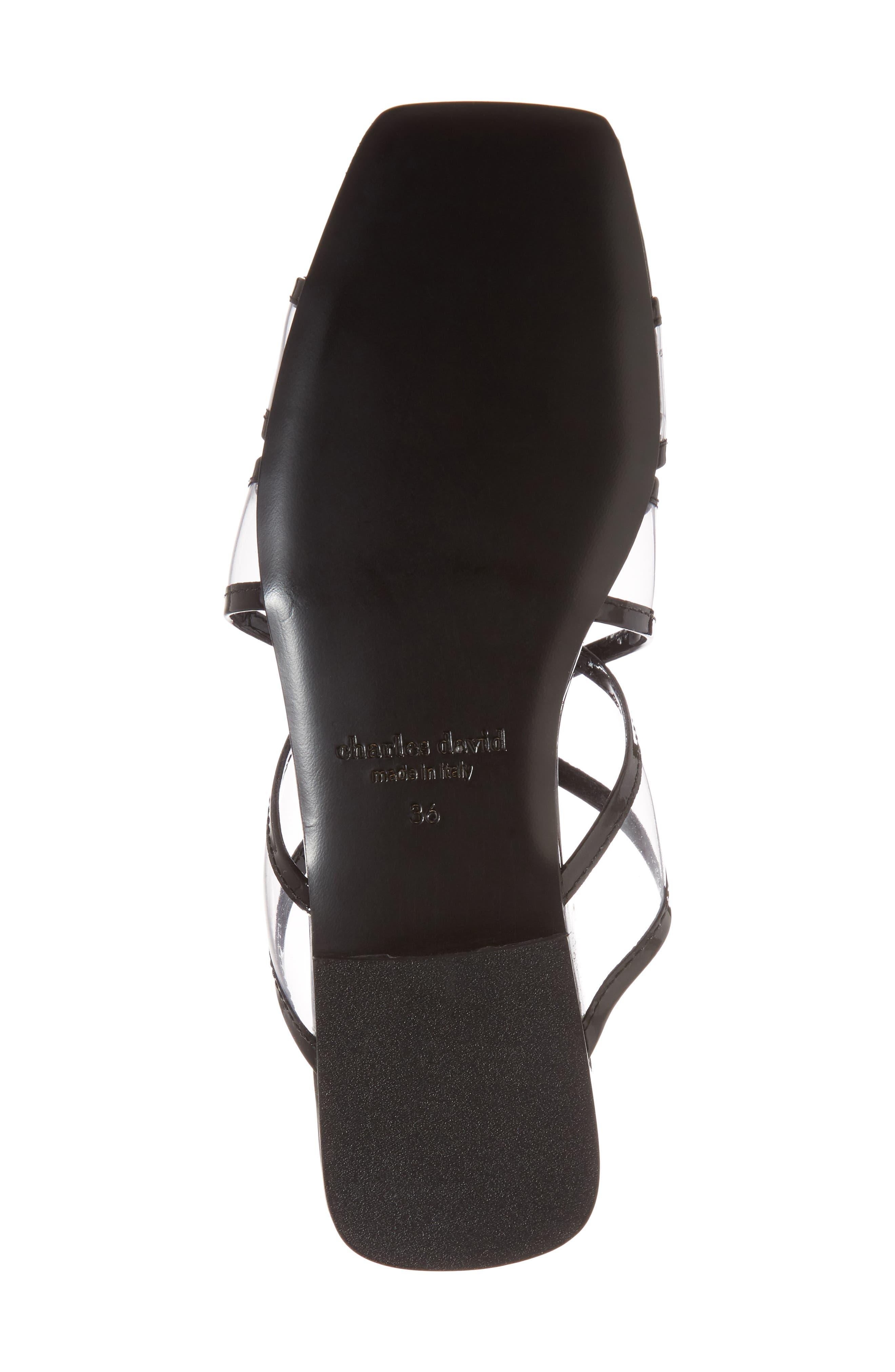 Drea Transparent Strap Slide Sandal,                             Alternate thumbnail 6, color,                             BLACK