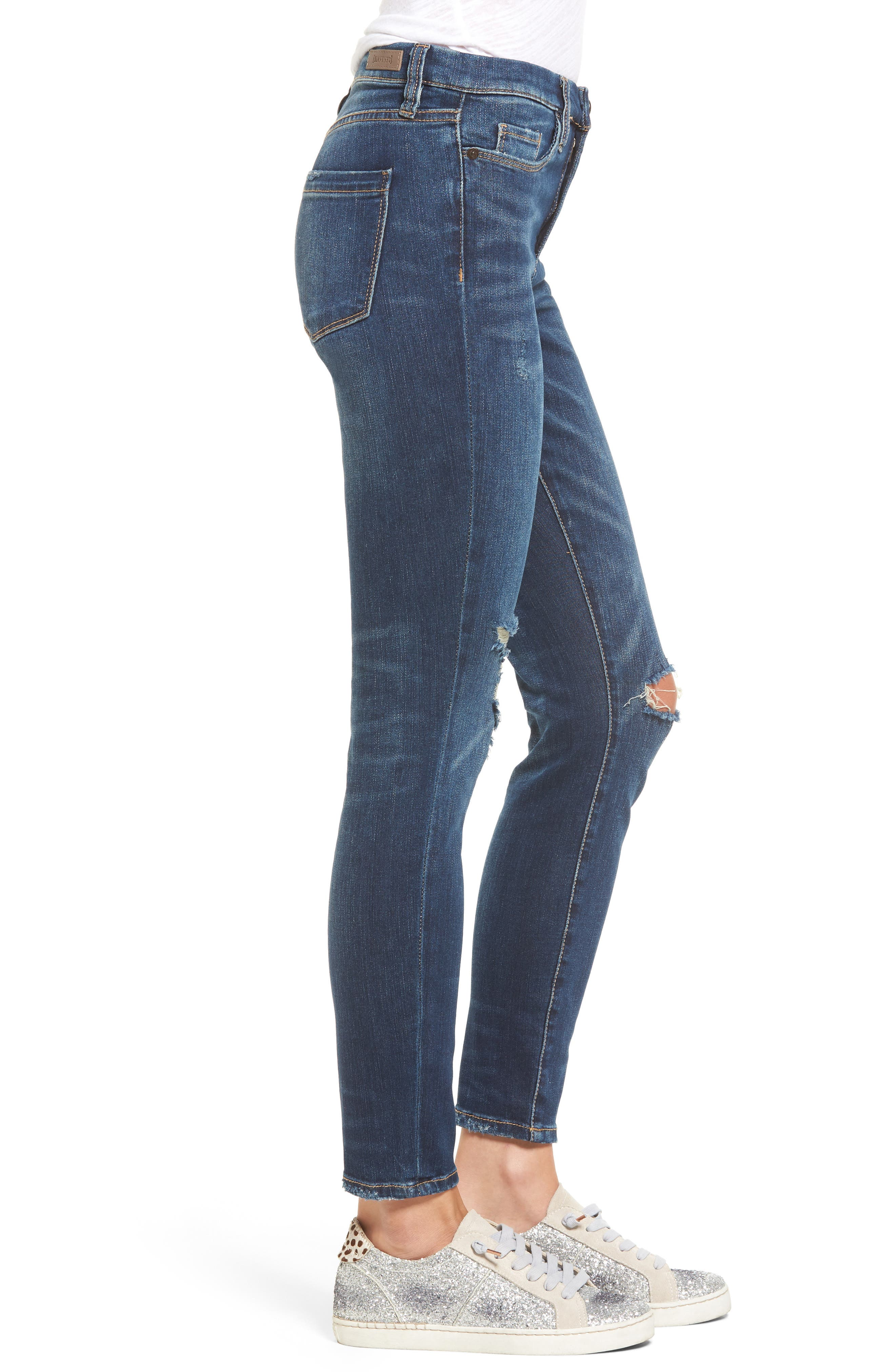 Ripped Ankle Skinny Jeans,                             Alternate thumbnail 3, color,