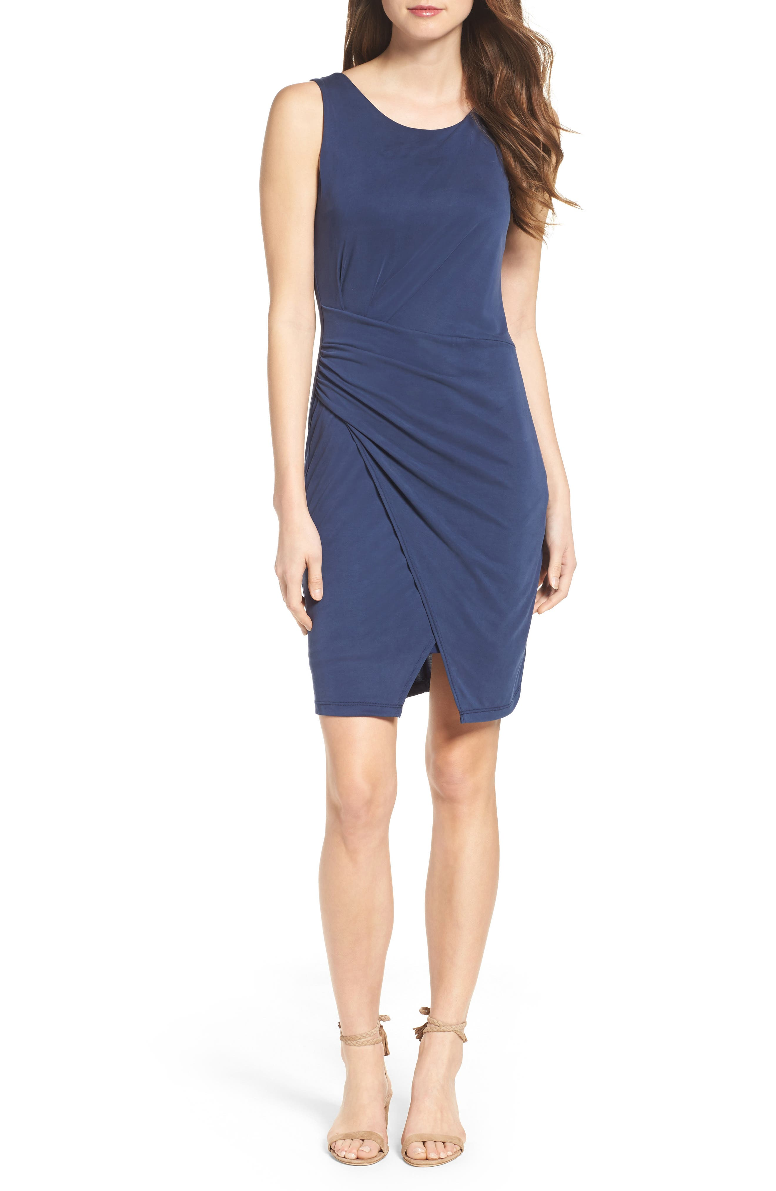 Pleated Body-Con Dress,                             Alternate thumbnail 5, color,