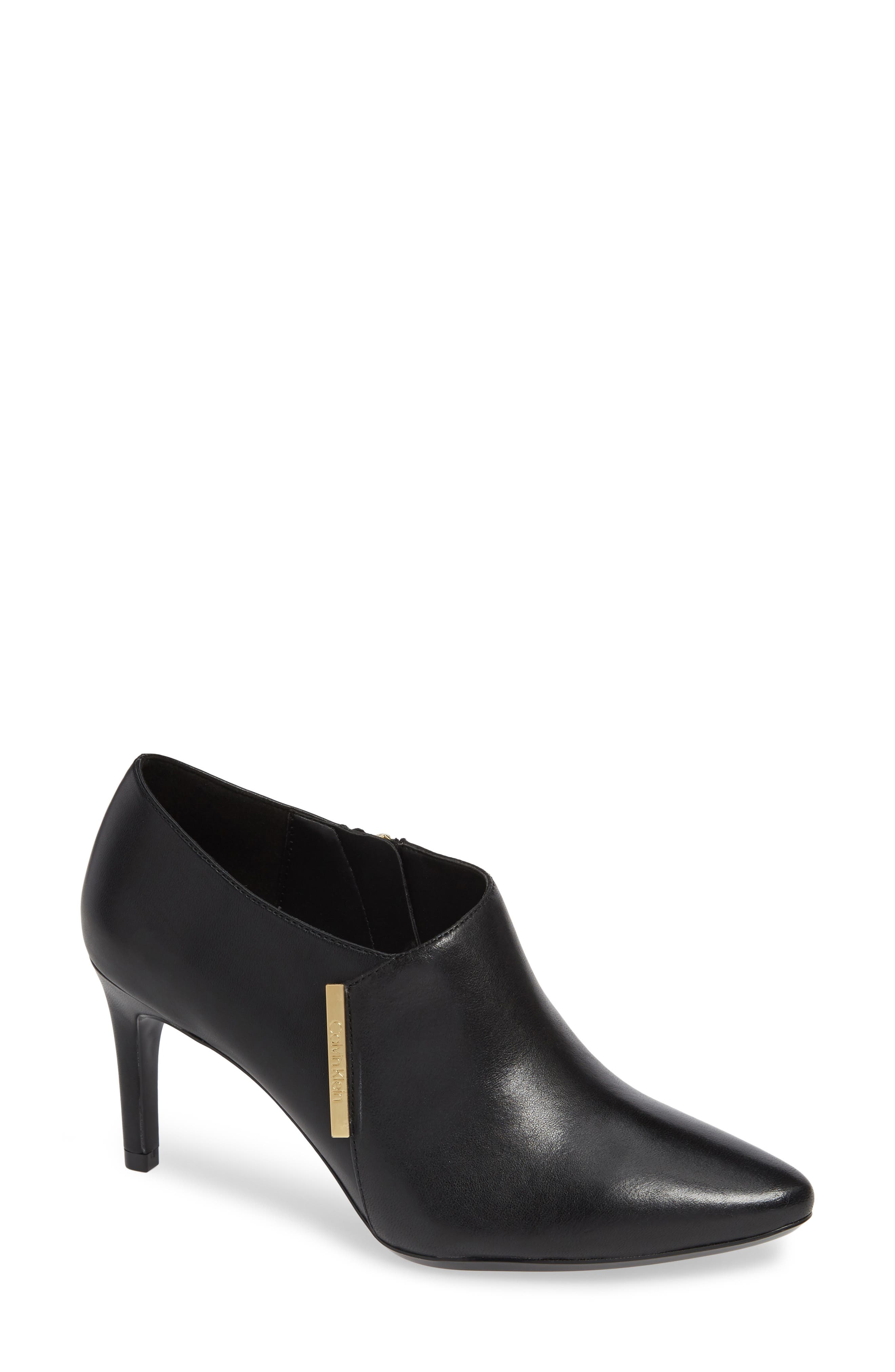 Jeanna Bootie,                             Main thumbnail 1, color,                             BLACK LEATHER