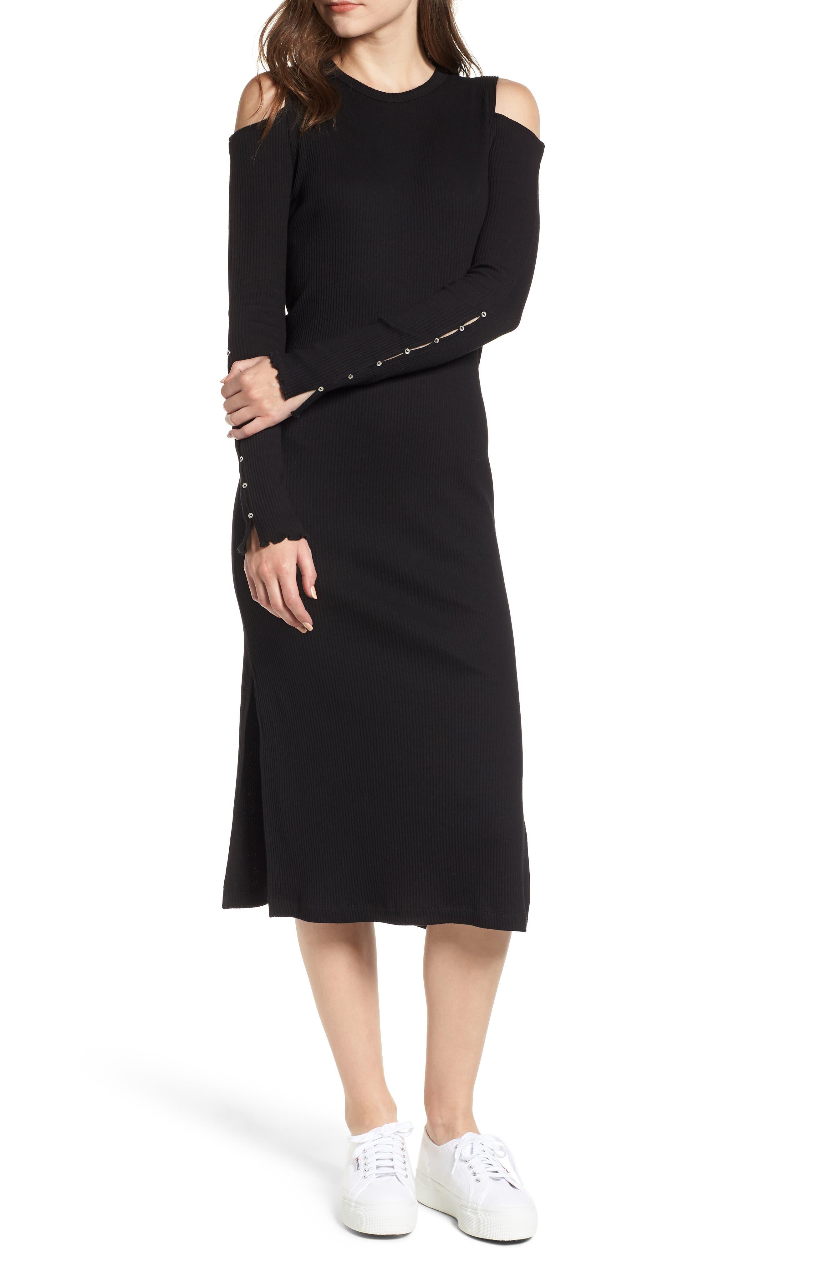 CURRENT ELLIOTT Current/Elliott The Going Steady Cold-Shoulder Rib-Knit Dress in Caviar