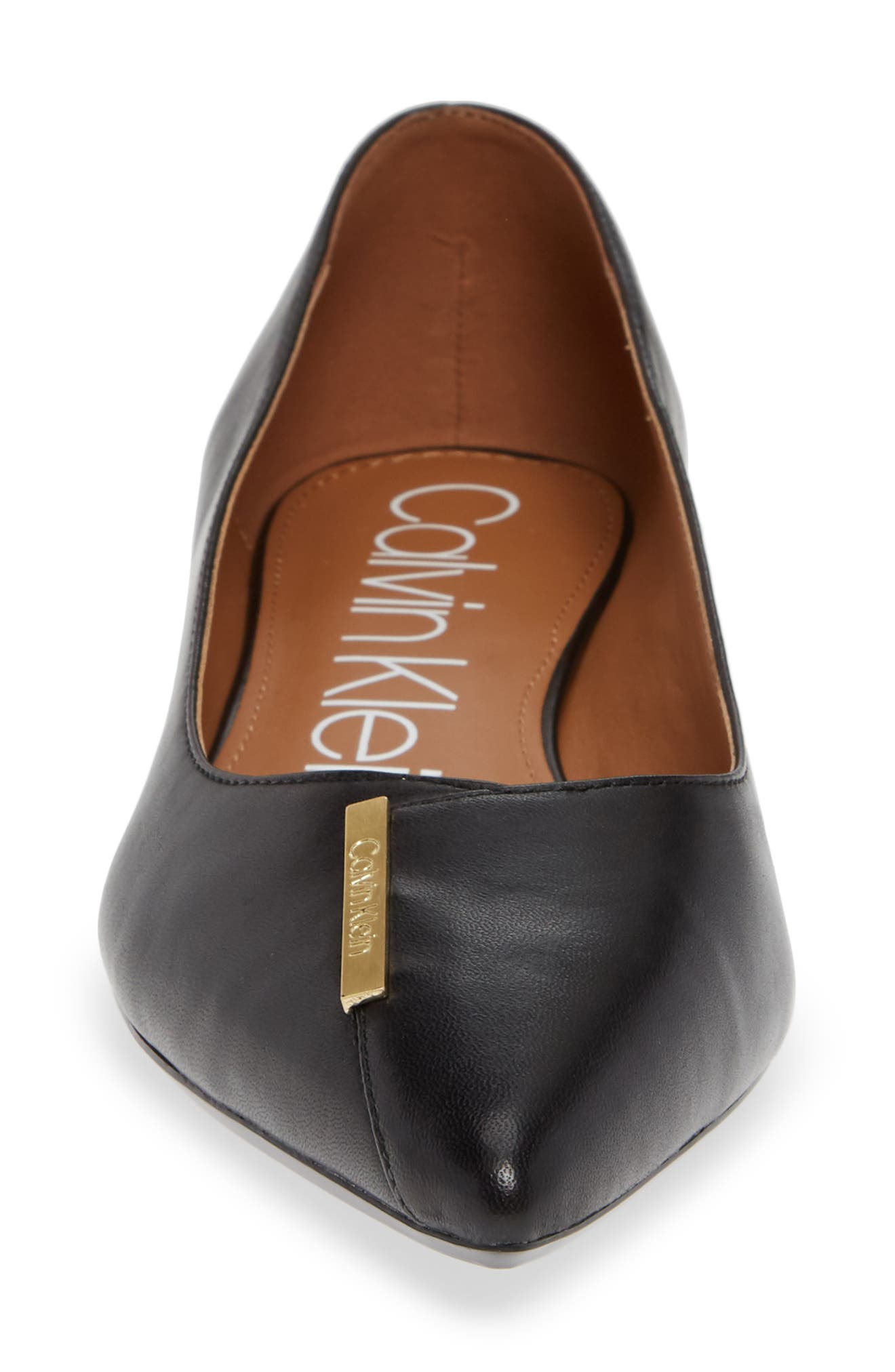Arline Pointy Toe Flat,                             Alternate thumbnail 4, color,                             BLACK LEATHER