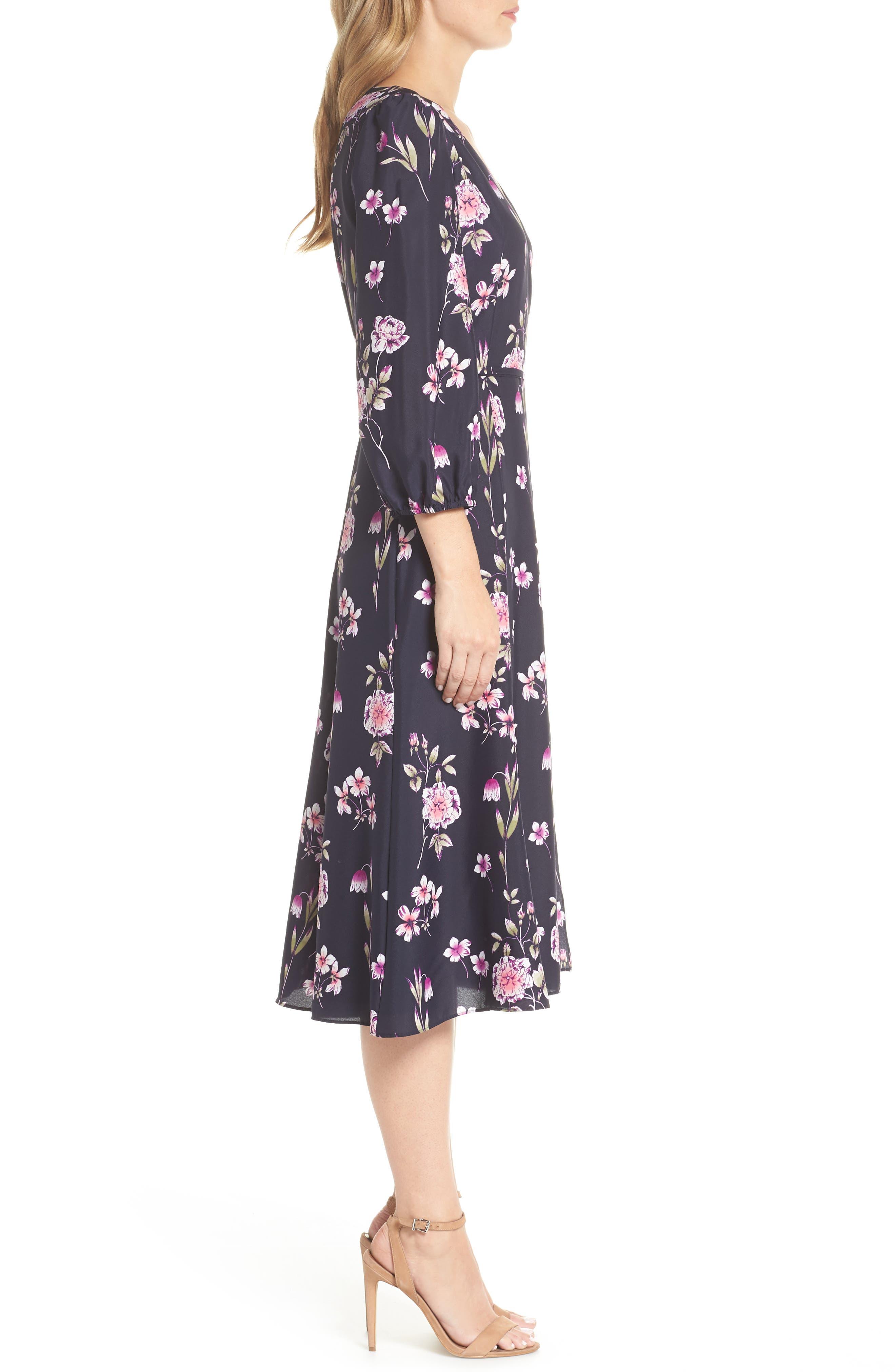 Floral Print Wrap Dress,                             Alternate thumbnail 3, color,                             410