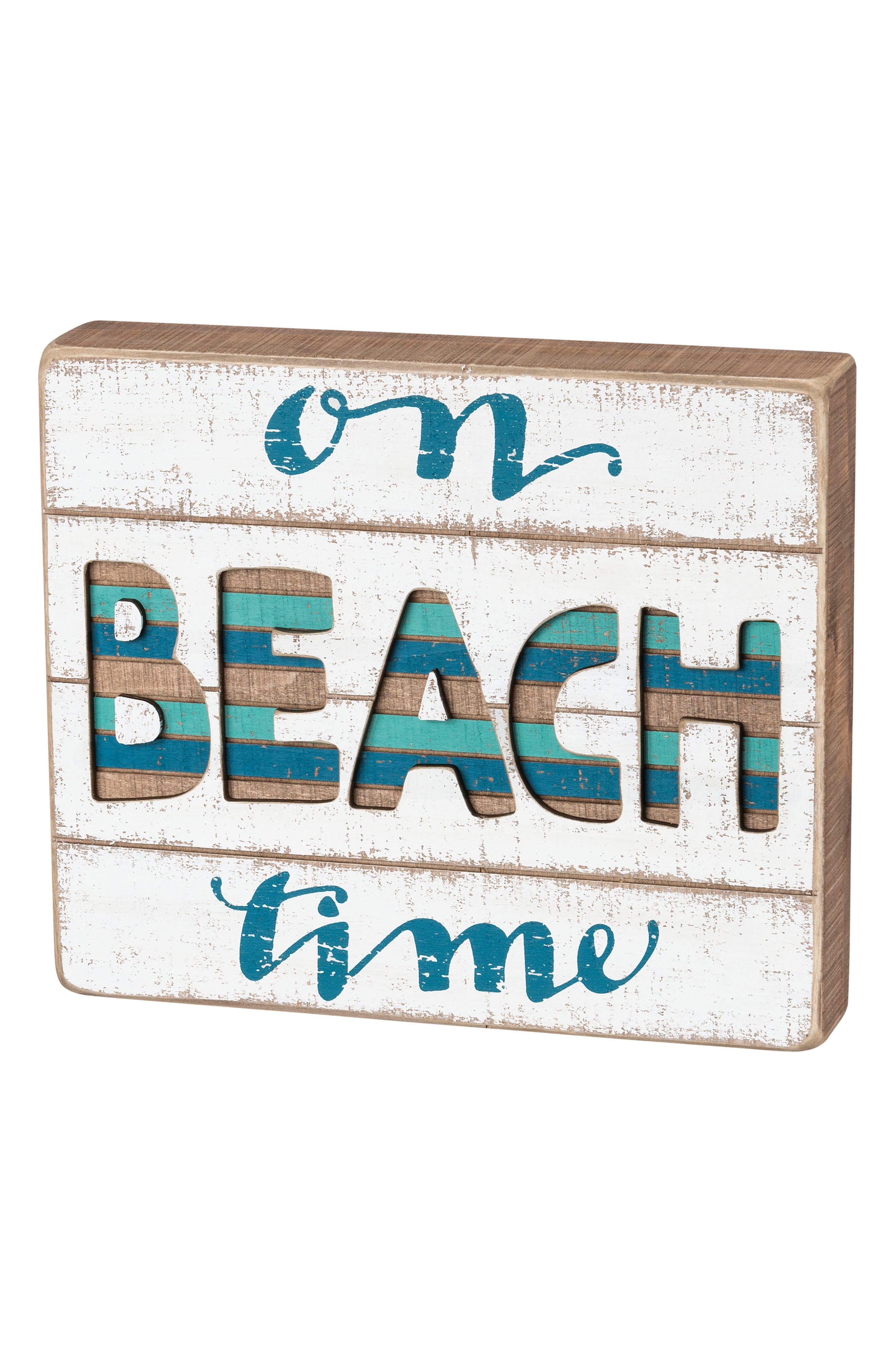 On Beach Time Slat Box Sign,                             Main thumbnail 1, color,                             400