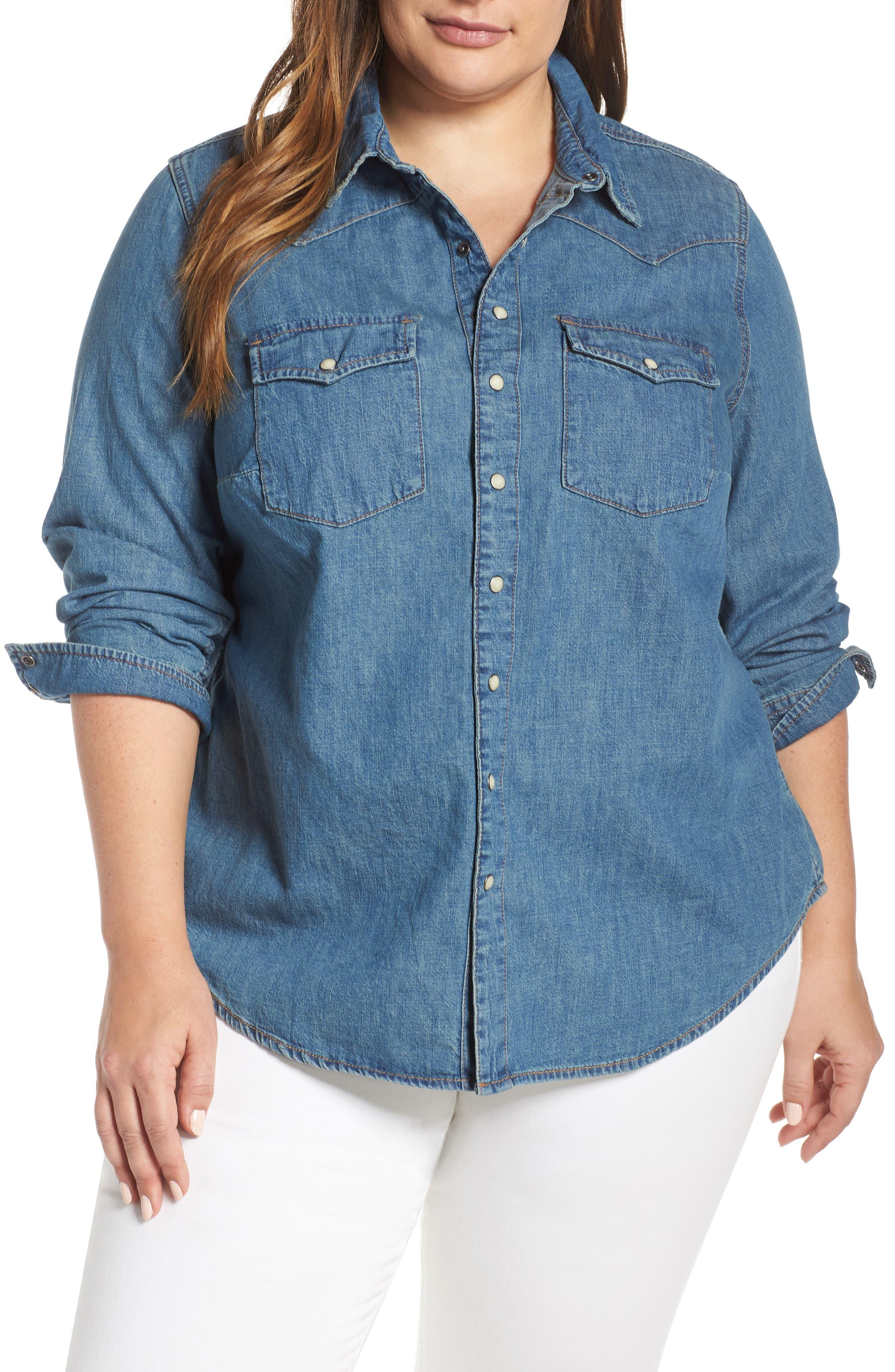 Chambray Western Shirt, Main, color, CLAY