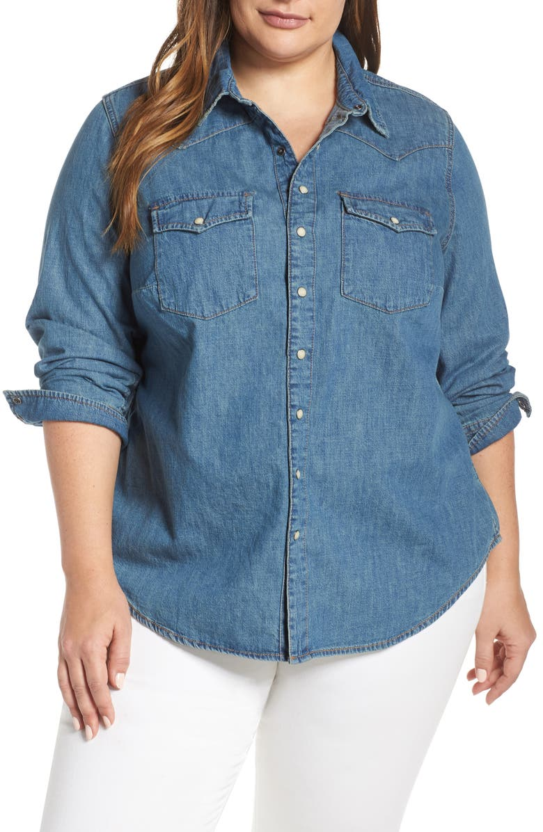 9c3078a7dc966 Lucky Brand Chambray Western Shirt (Plus Size)